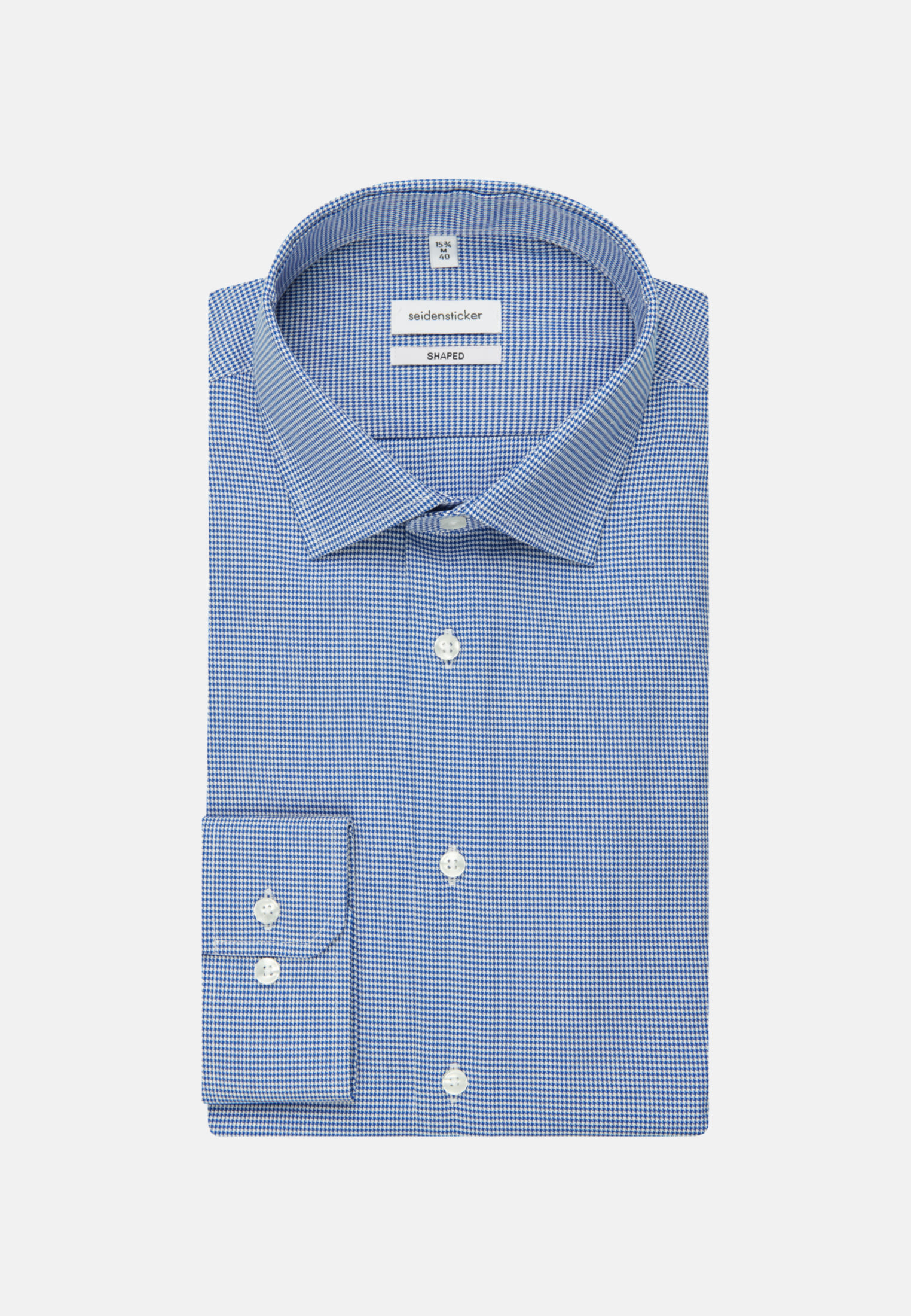 Bügelleichtes Pepita Business Hemd in Shaped mit Kentkragen in Mittelblau |  Seidensticker Onlineshop