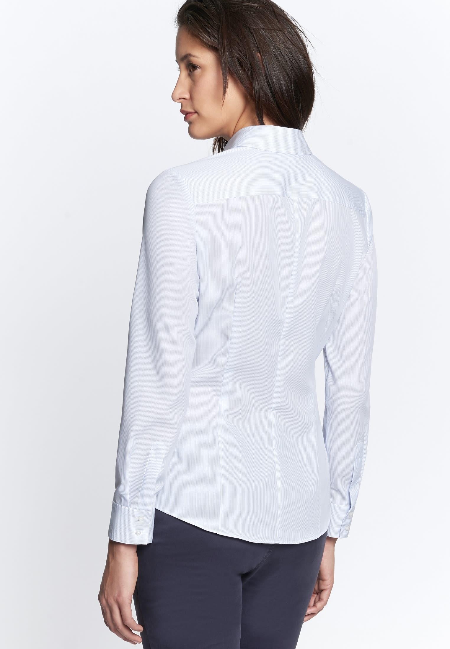 Bügelfreie Popeline Hemdbluse aus 100% Baumwolle in Streifen weiß/blau |  Seidensticker Onlineshop