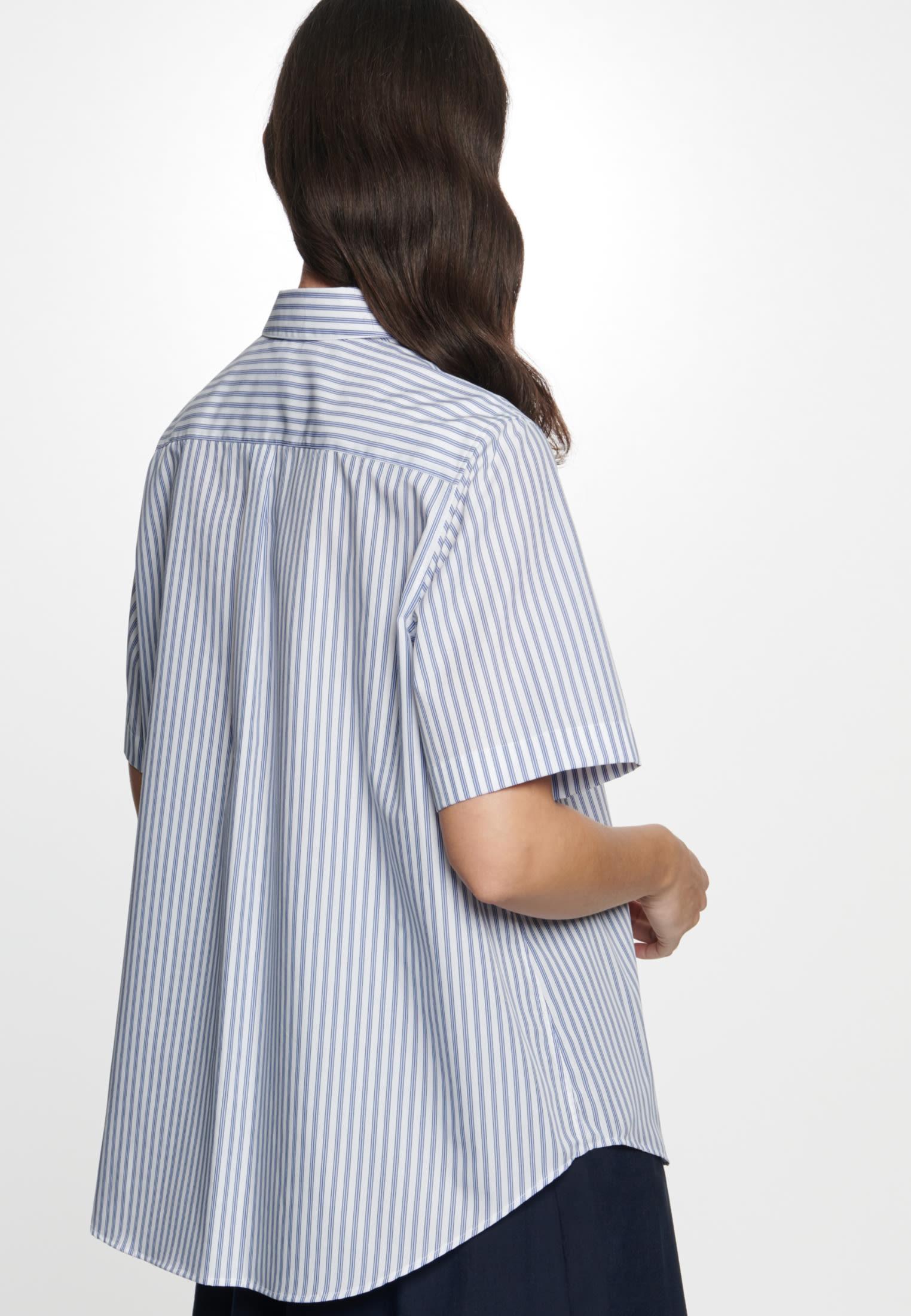 Short sleeve Poplin Shirt Blouse made of 100% Cotton in Light blue |  Seidensticker Onlineshop