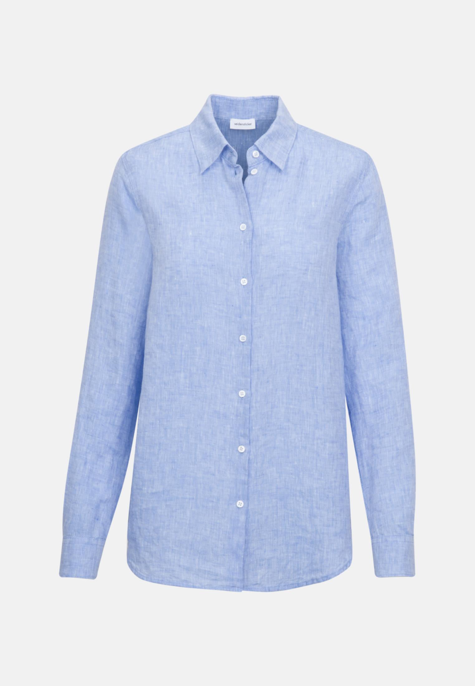 Leinen Hemdbluse aus 100% Leinen in Mittelblau |  Seidensticker Onlineshop