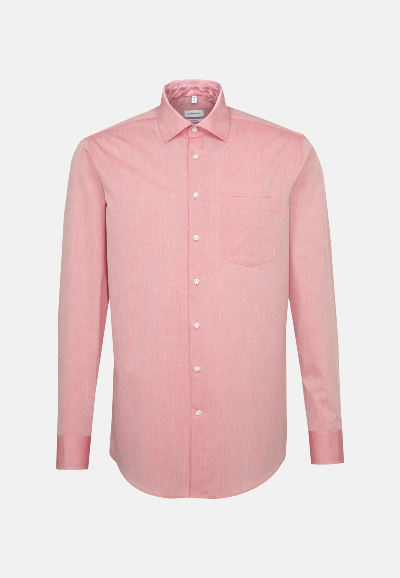 Bügelfreies Chambray Business Hemd in Regular mit Kentkragen und extra langem Arm in Rot |  Seidensticker Onlineshop