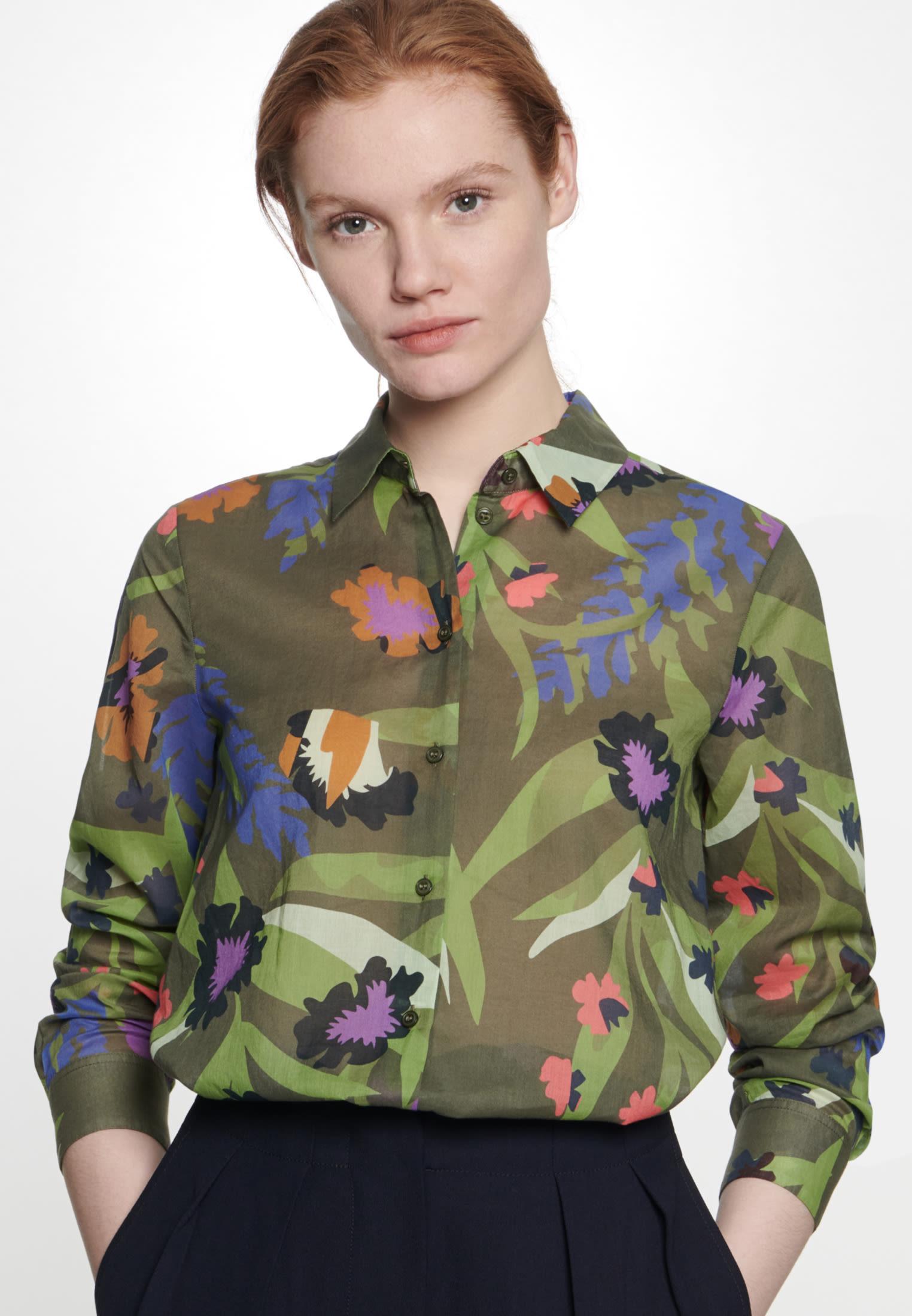 Voile Shirt Blouse made of 100% Cotton in Green |  Seidensticker Onlineshop
