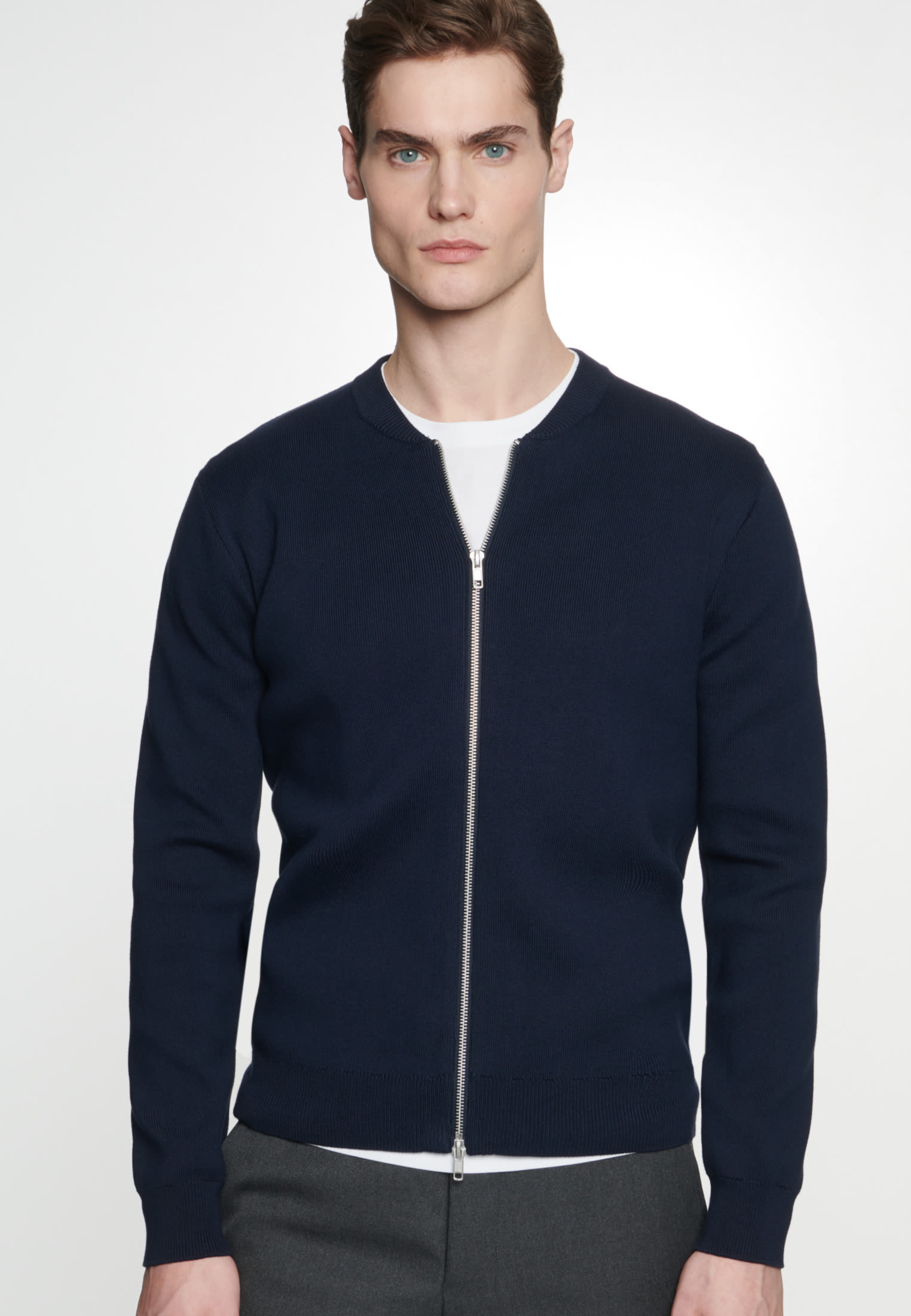 Knit Bomber made of 100% Cotton in Dark blue |  Seidensticker Onlineshop
