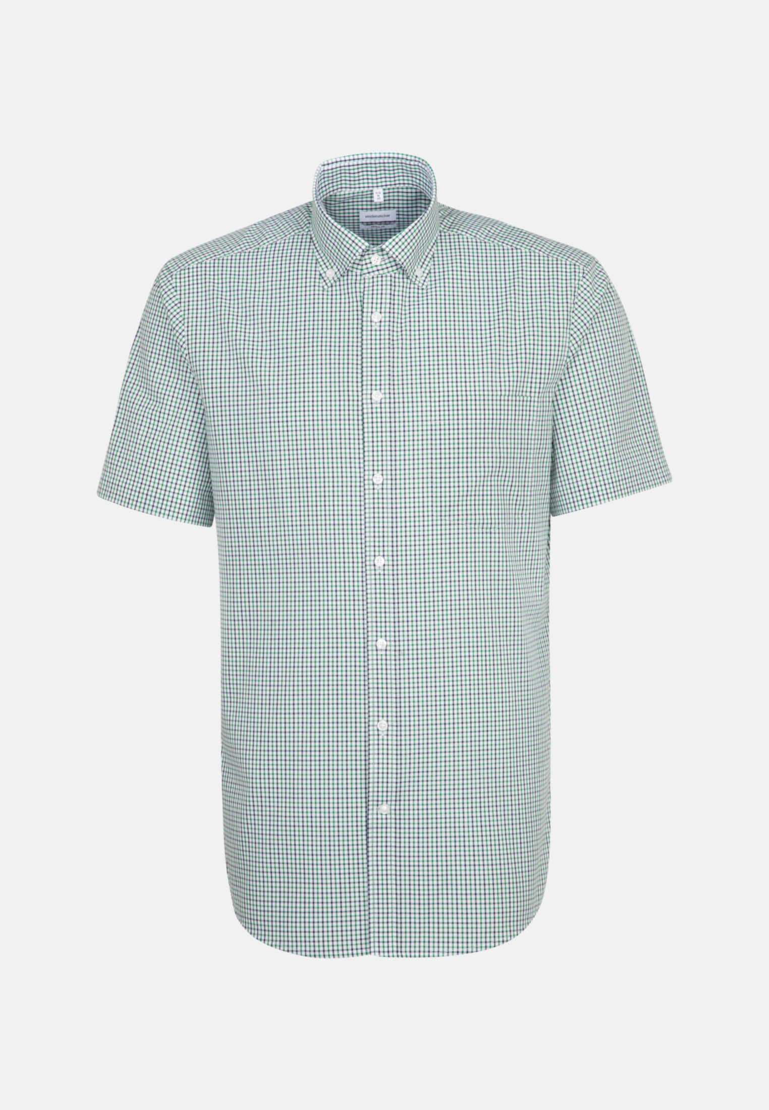 Non-iron Poplin Short sleeve Business Shirt in Regular with Button-Down-Collar in Green    Seidensticker Onlineshop