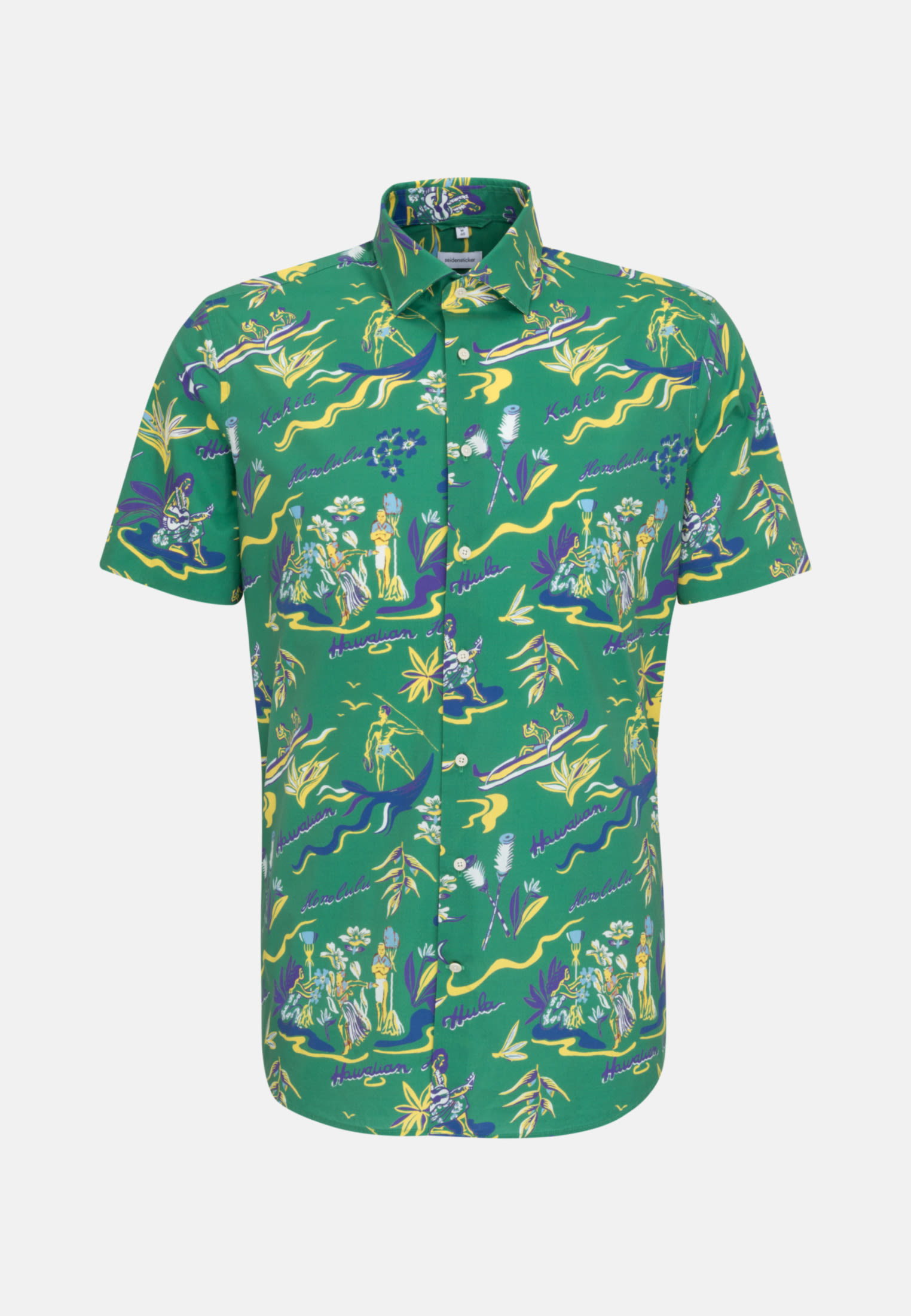 Bügelleichtes Popeline Kurzarm Business Hemd in Shaped mit Kentkragen in Grün |  Seidensticker Onlineshop