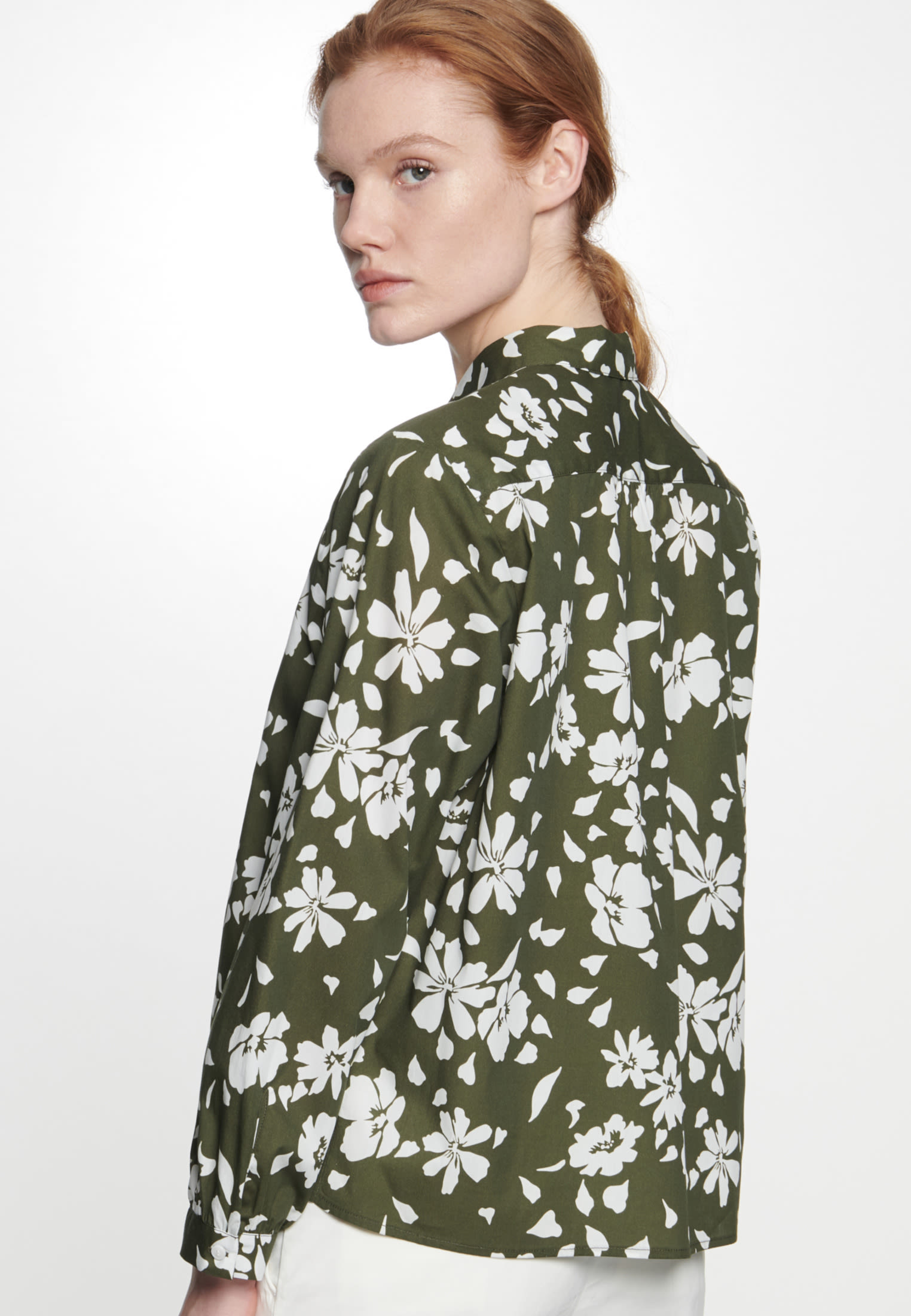 Poplin Shirt Blouse made of 100% Cotton in Green |  Seidensticker Onlineshop