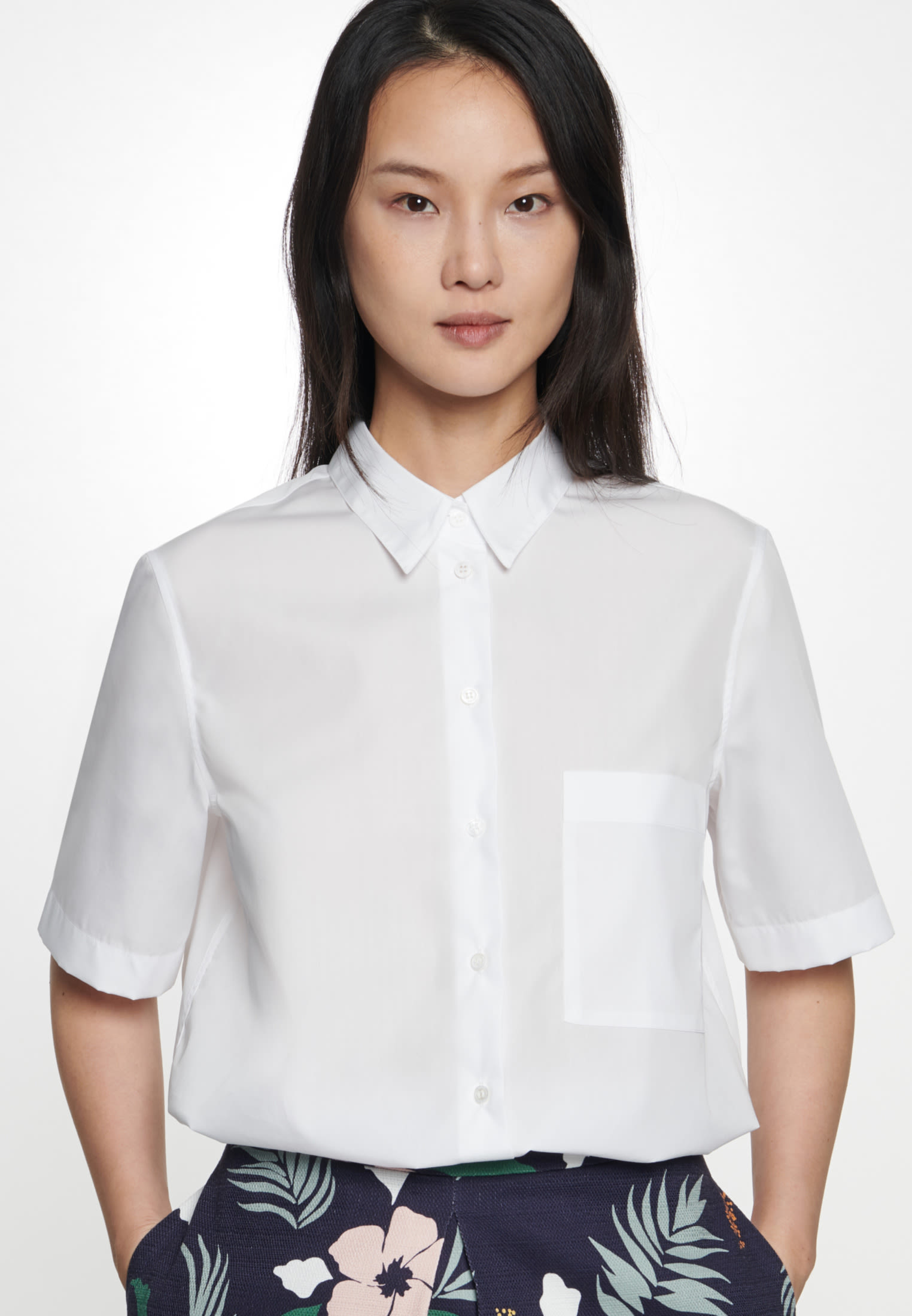 Kurzarm Popeline Hemdbluse aus 100% Baumwolle in Weiß |  Seidensticker Onlineshop