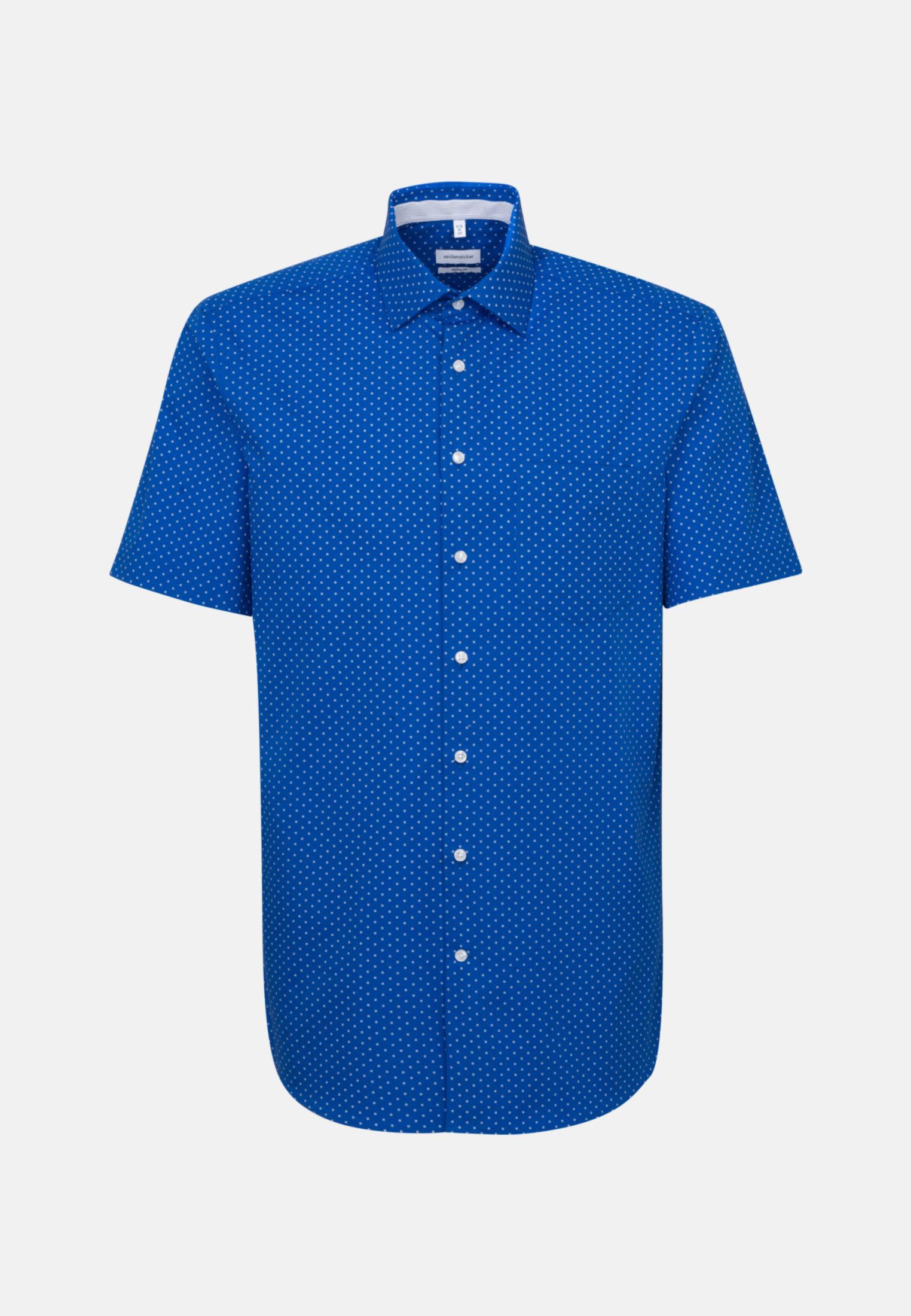 Easy-iron Poplin Short sleeve Business Shirt in Regular with Kent-Collar in Medium blue |  Seidensticker Onlineshop