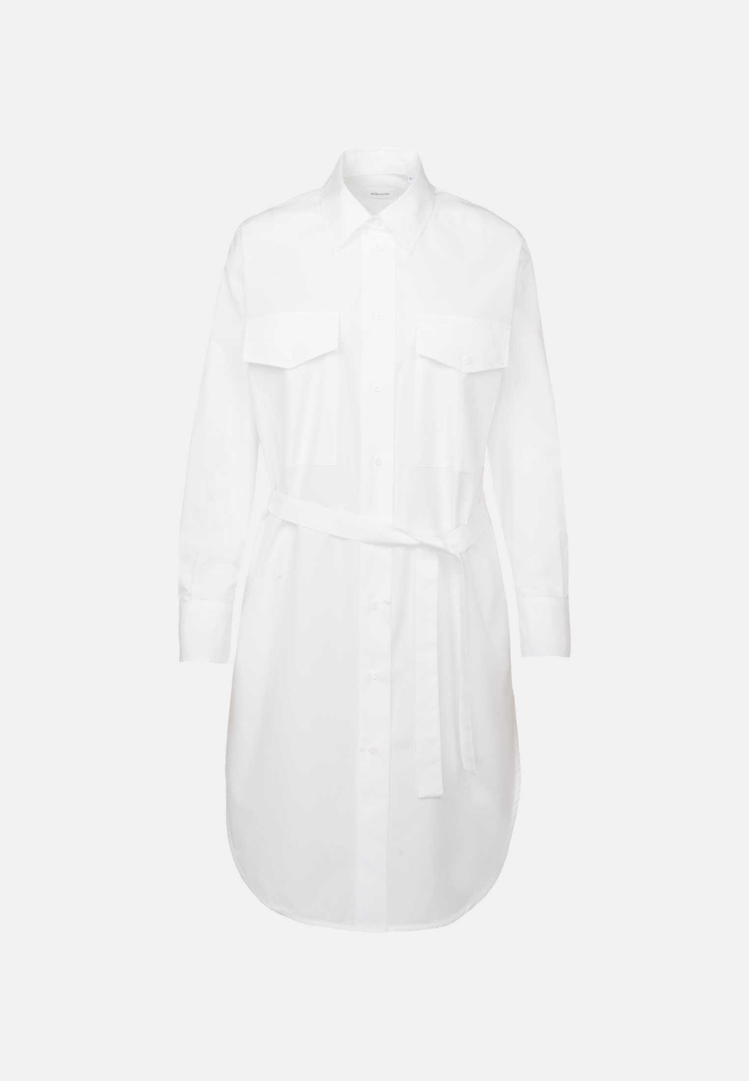 Poplin Midi Dress made of 100% Cotton in White |  Seidensticker Onlineshop