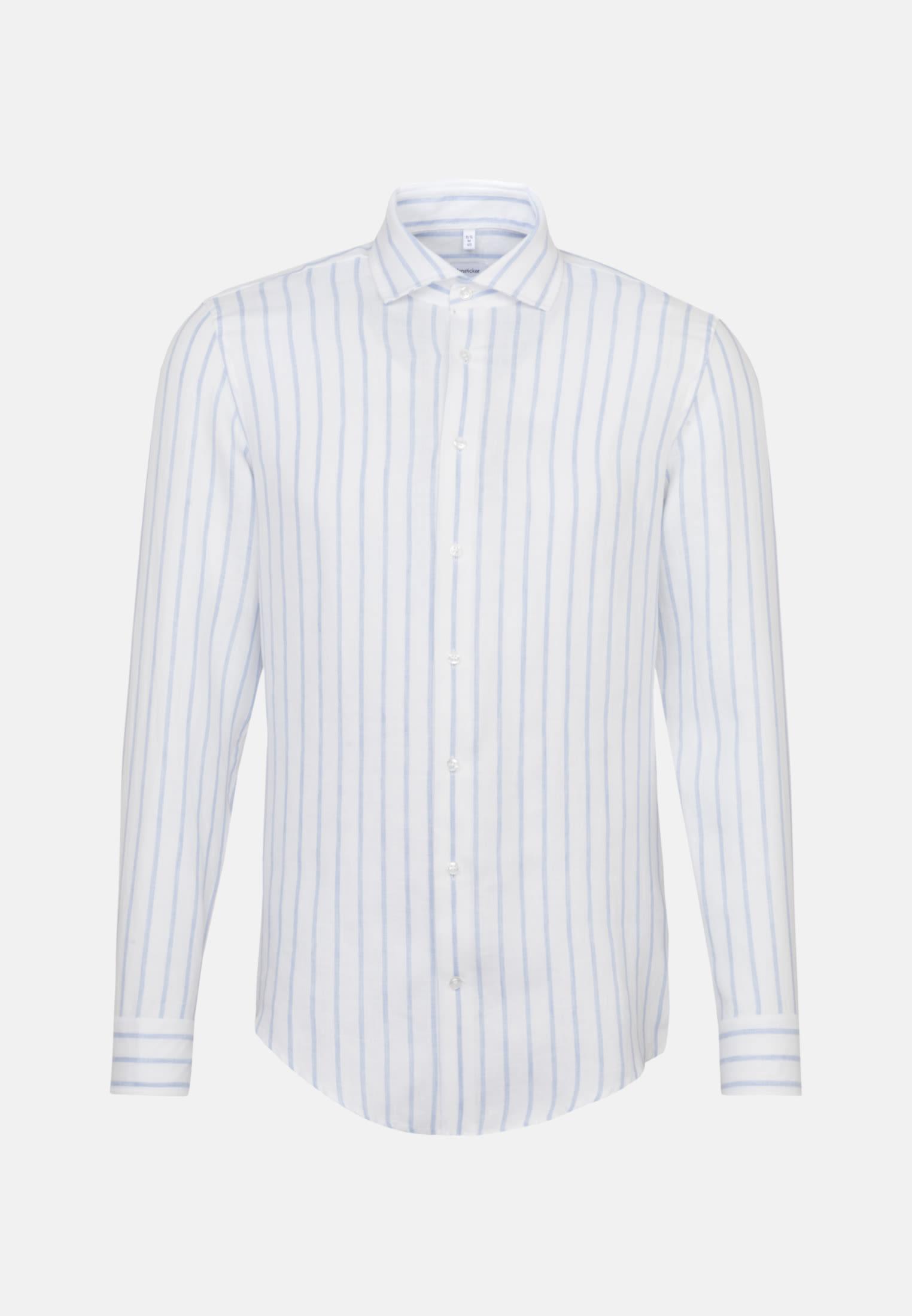 Bügelleichtes Leinen Business Hemd in Slim mit Kentkragen in Weiß    Seidensticker Onlineshop