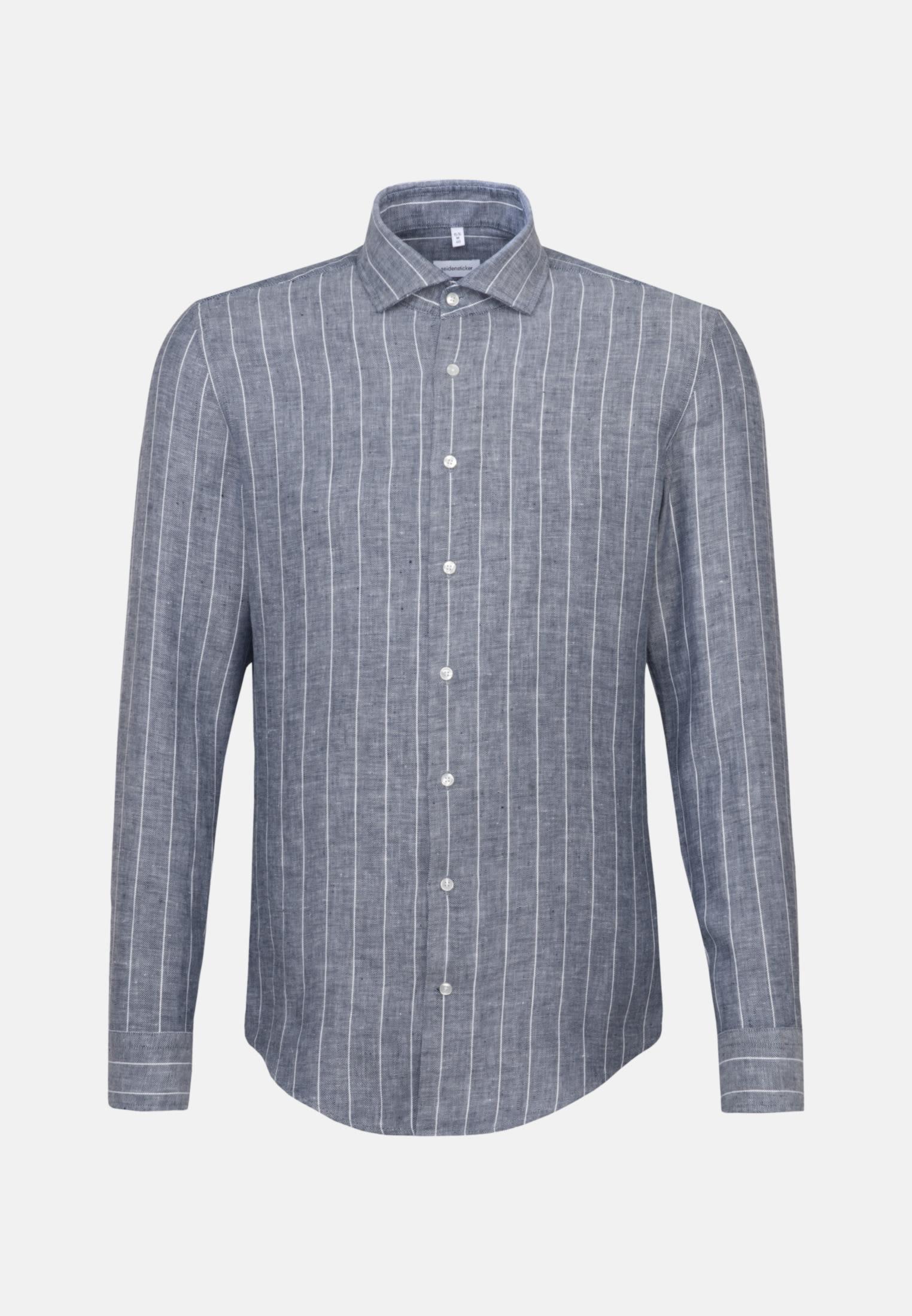 Bügelleichtes Leinen Business Hemd in Slim mit Kentkragen in Grau    Seidensticker Onlineshop
