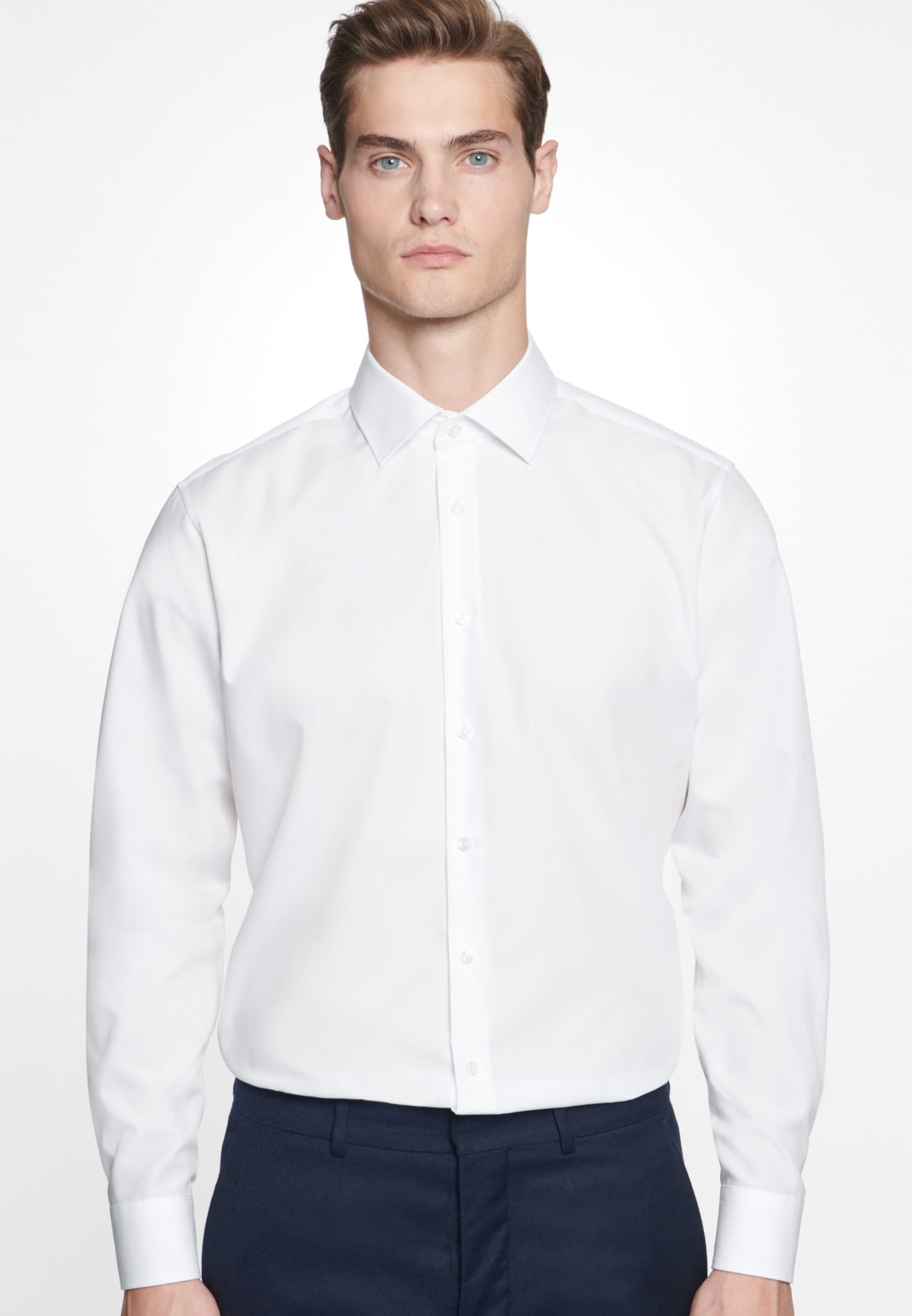 "Non-iron ""together"" Signature-Shirt in Shaped with Kent-Collar in White 
