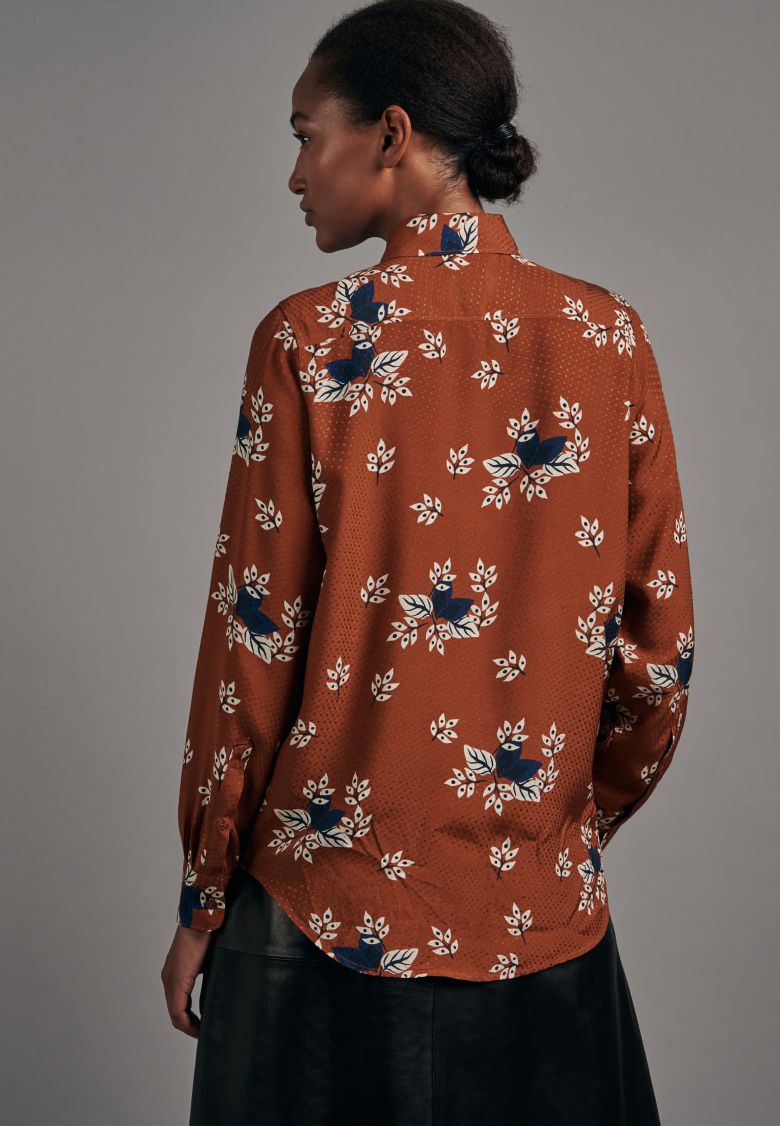 Jacquard Shirt Blouse made of 100% Viscose in Orange |  Seidensticker Onlineshop