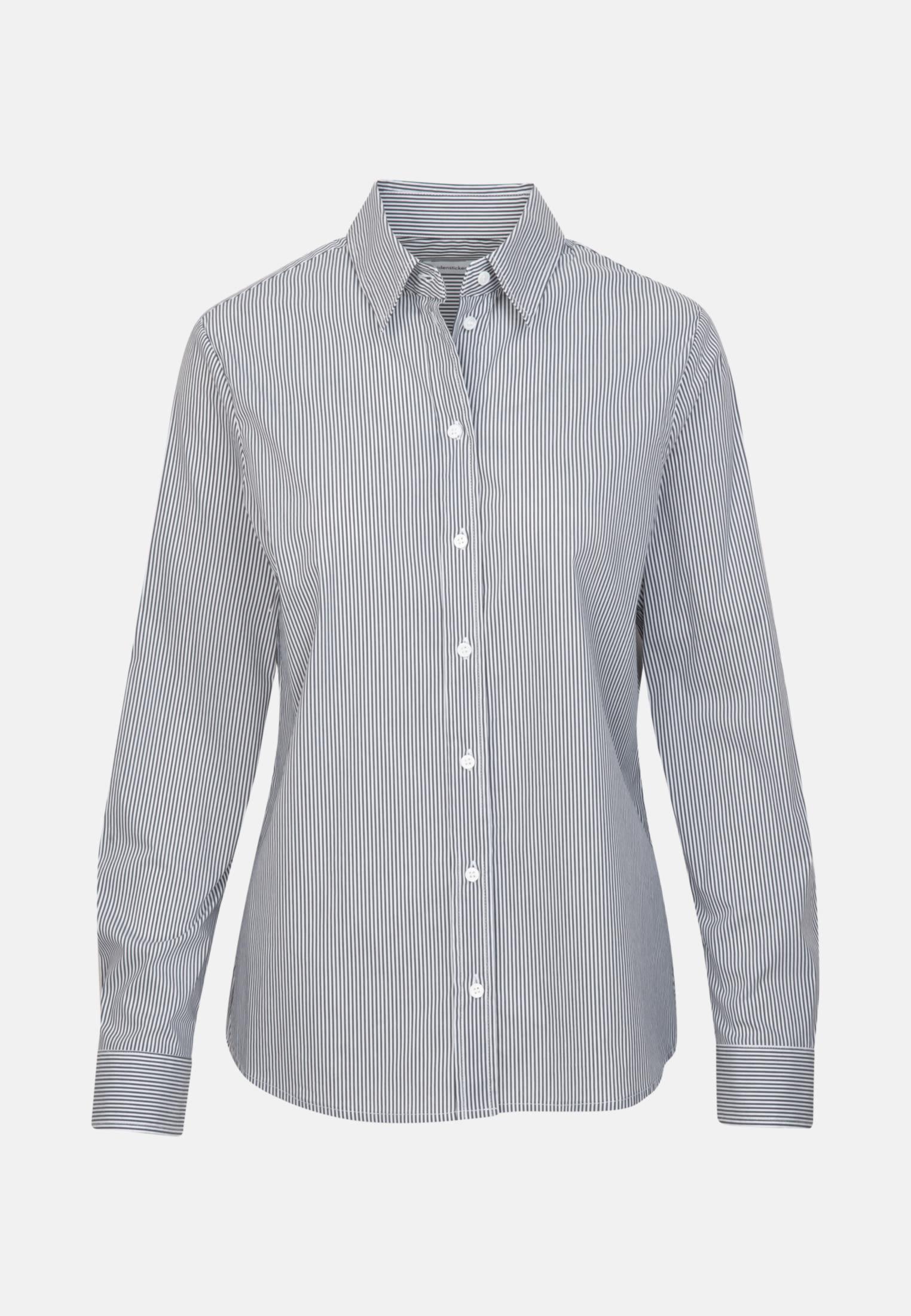 Poplin Shirt Blouse made of cotton blend in Dark blue |  Seidensticker Onlineshop