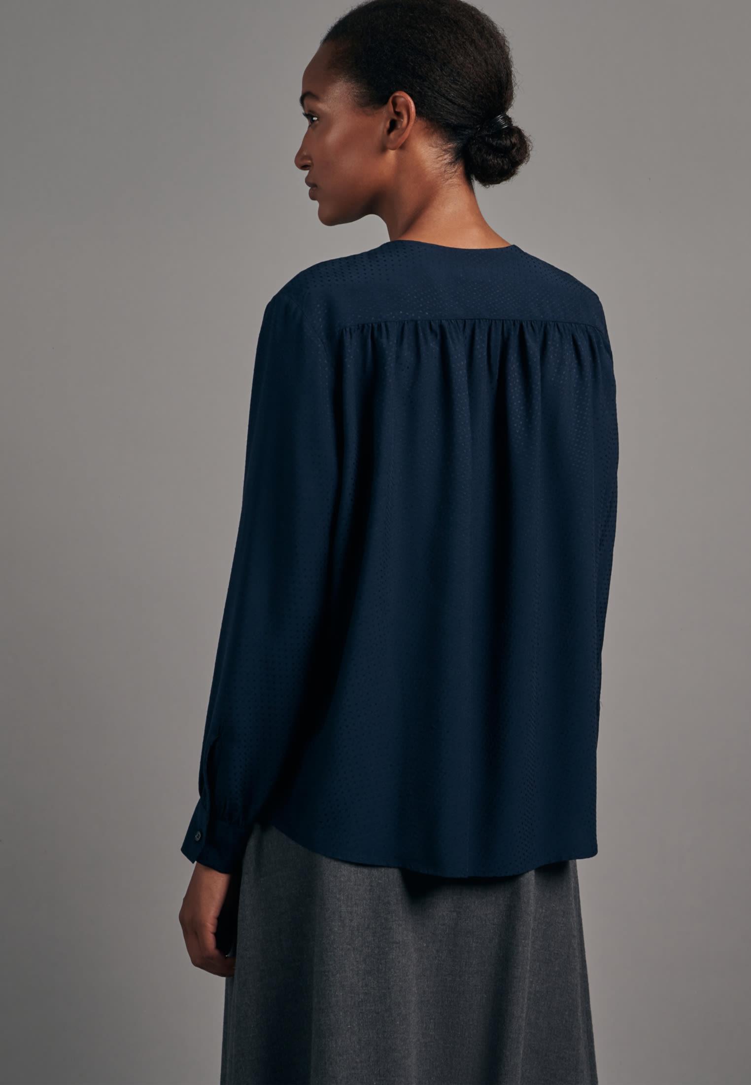 Jacquard Shirtbluse aus 100% Viskose in Dunkelblau    Seidensticker Onlineshop