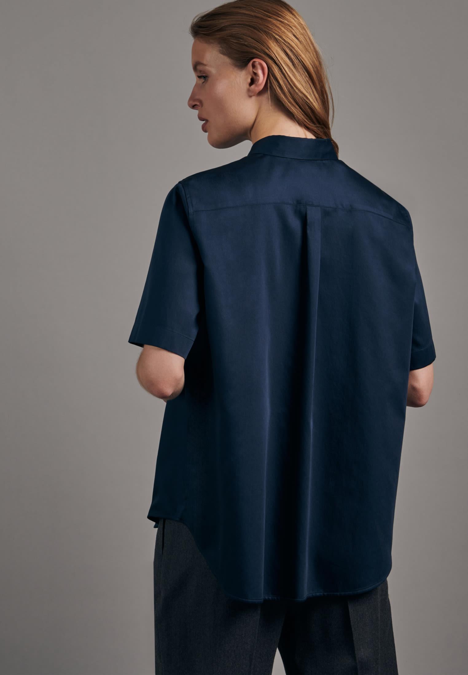Kurzarm Satin Hemdbluse aus 100% Baumwolle in Dunkelblau |  Seidensticker Onlineshop