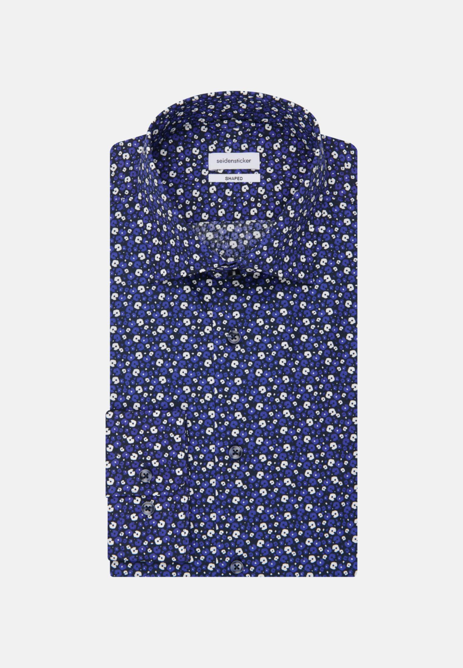 Bügelleichtes Popeline Business Hemd in Shaped mit Kentkragen in Mittelblau |  Seidensticker Onlineshop