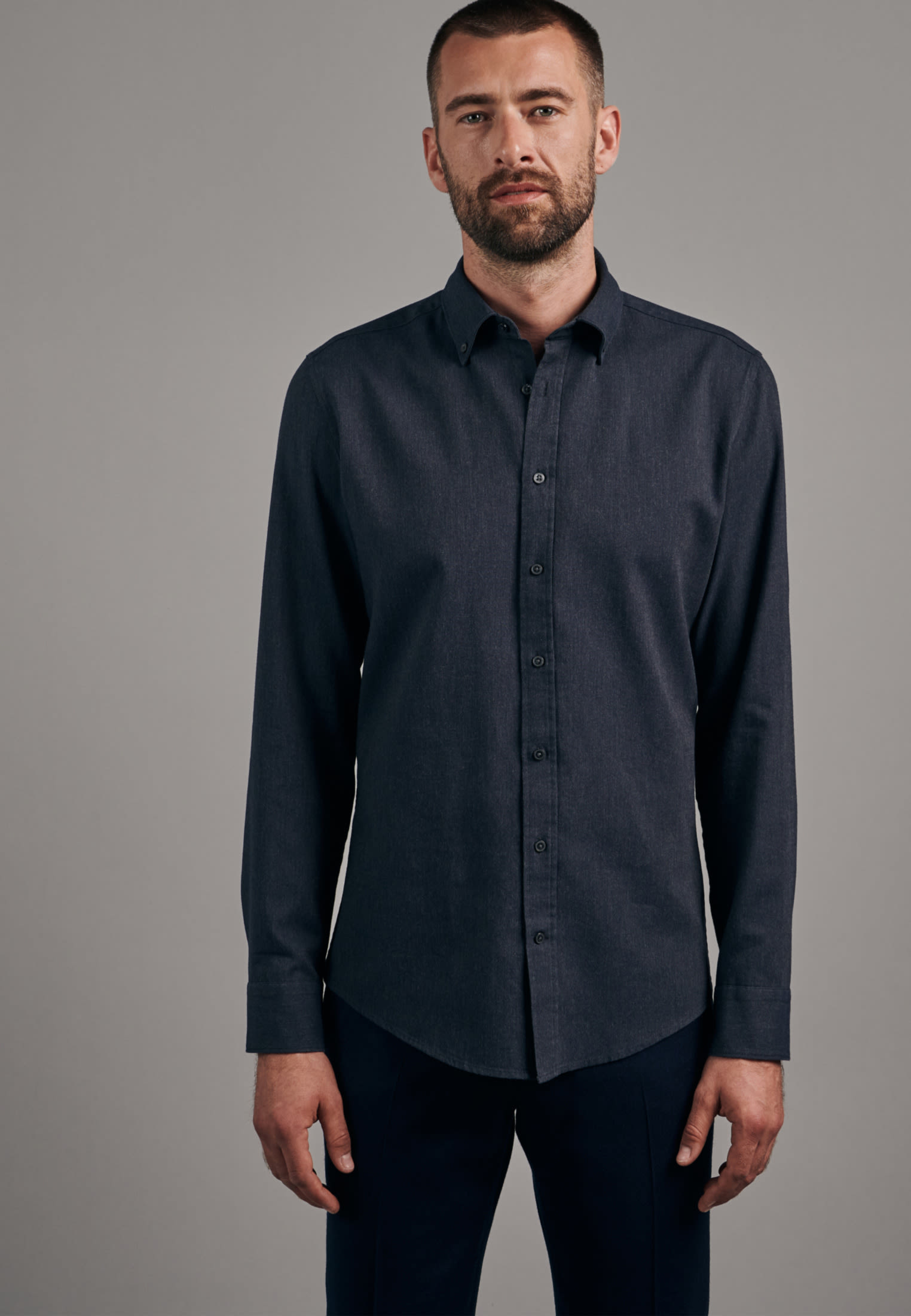 Panama Business Shirt in Slim with Button-Down-Collar in Grey |  Seidensticker Onlineshop