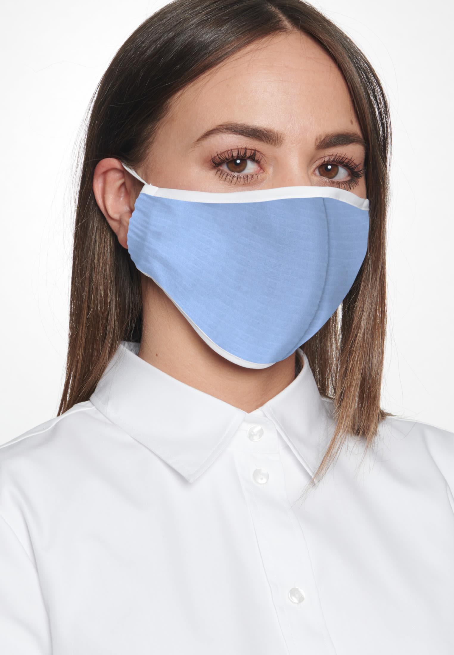 10er-Pack Mund-Nasen-Masken aus 100% Baumwolle in Hellblau    Seidensticker Onlineshop