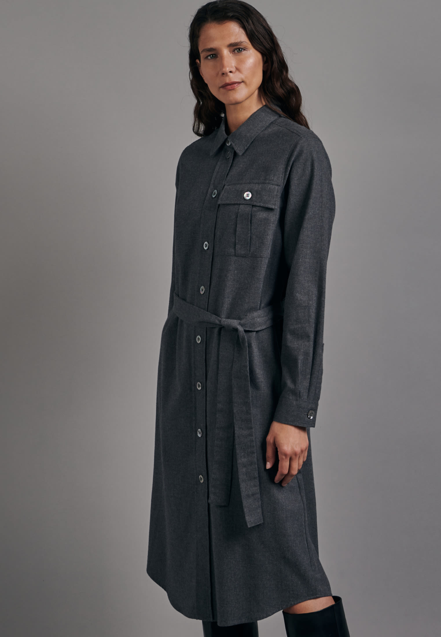 Flannel Midi Dress made of 100% Cotton in Grey |  Seidensticker Onlineshop