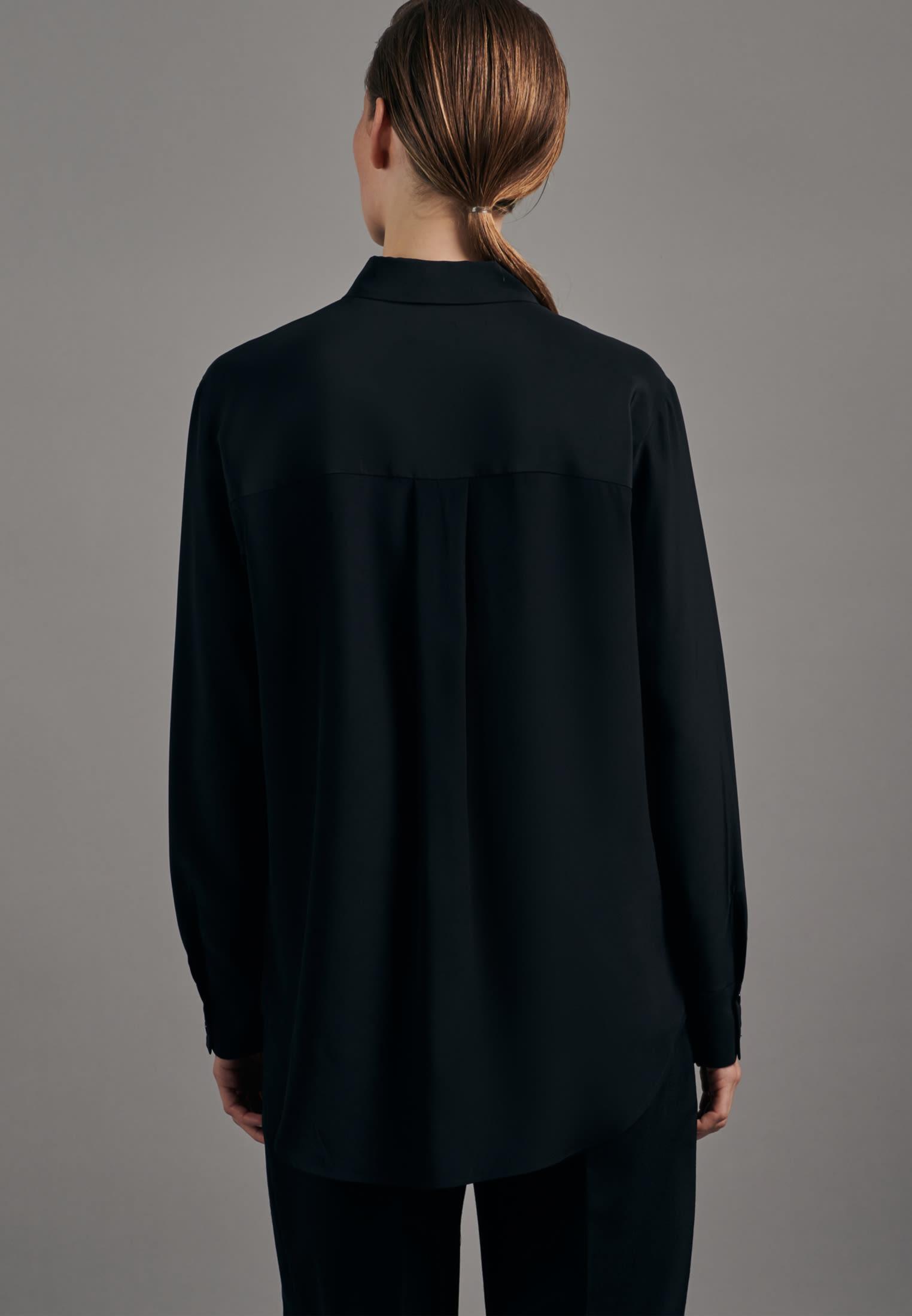 Satin Hemdbluse aus 100% Seide in Schwarz |  Seidensticker Onlineshop