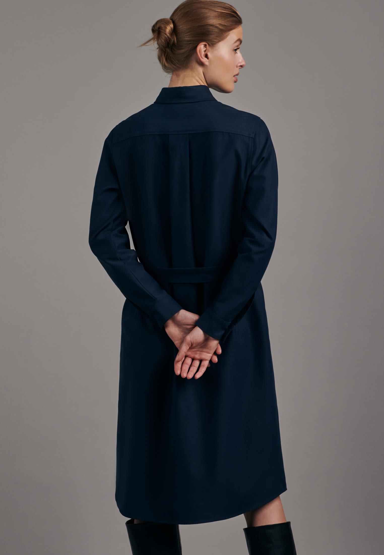 Twill Midi Kleid aus Baumwollmischung in Dunkelblau |  Seidensticker Onlineshop