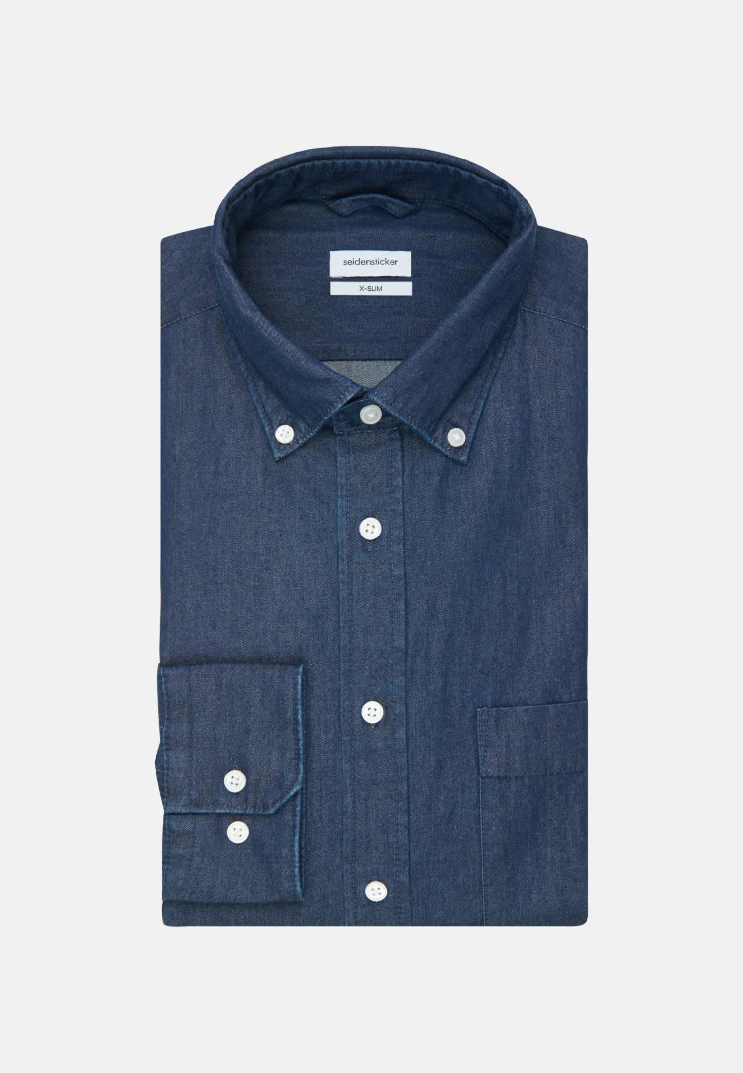 Bügelleichtes Denim Business Hemd in X-Slim mit Button-Down-Kragen in Dunkelblau |  Seidensticker Onlineshop