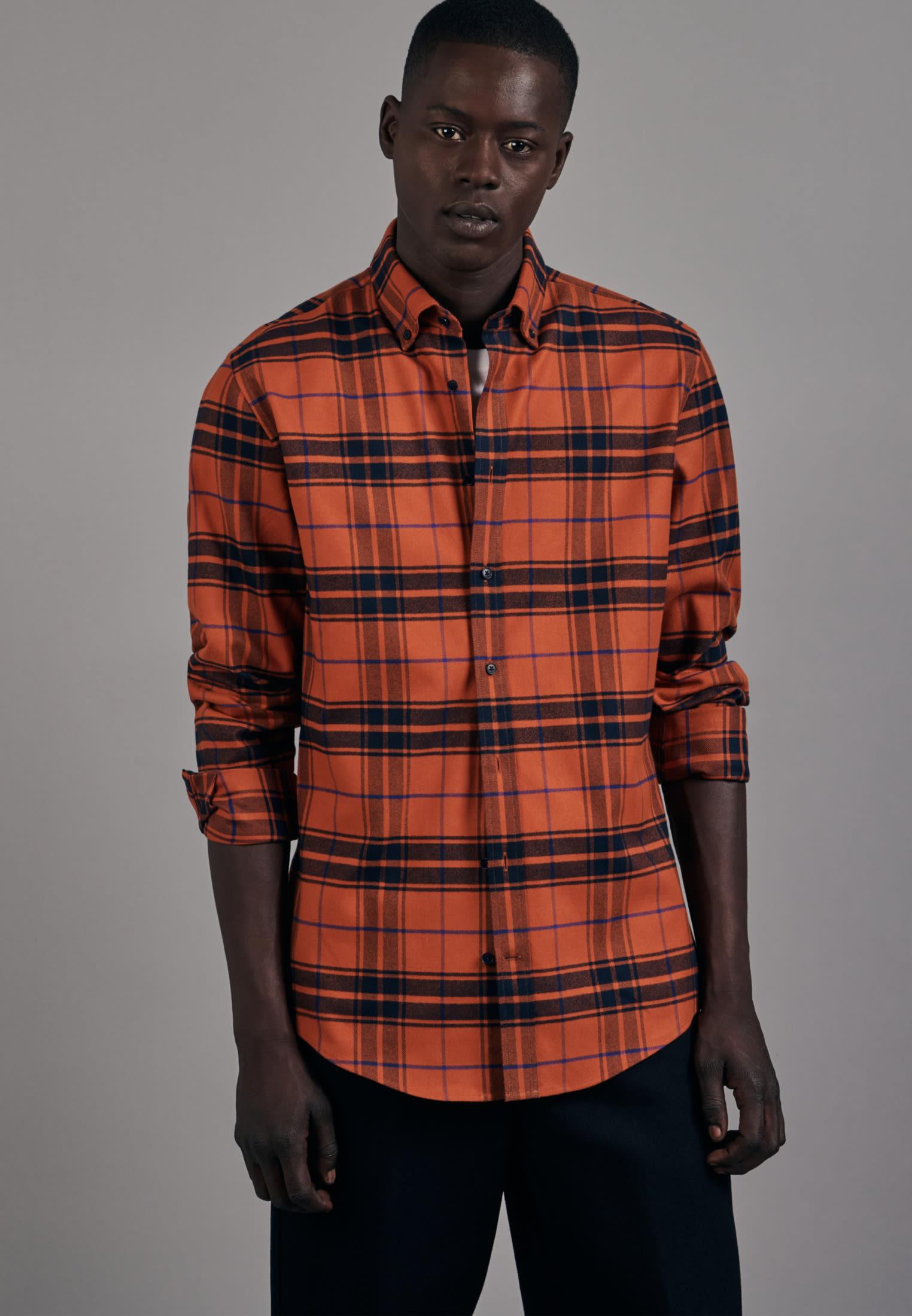 Flannel Business Shirt in Slim with Button-Down-Collar in Orange |  Seidensticker Onlineshop