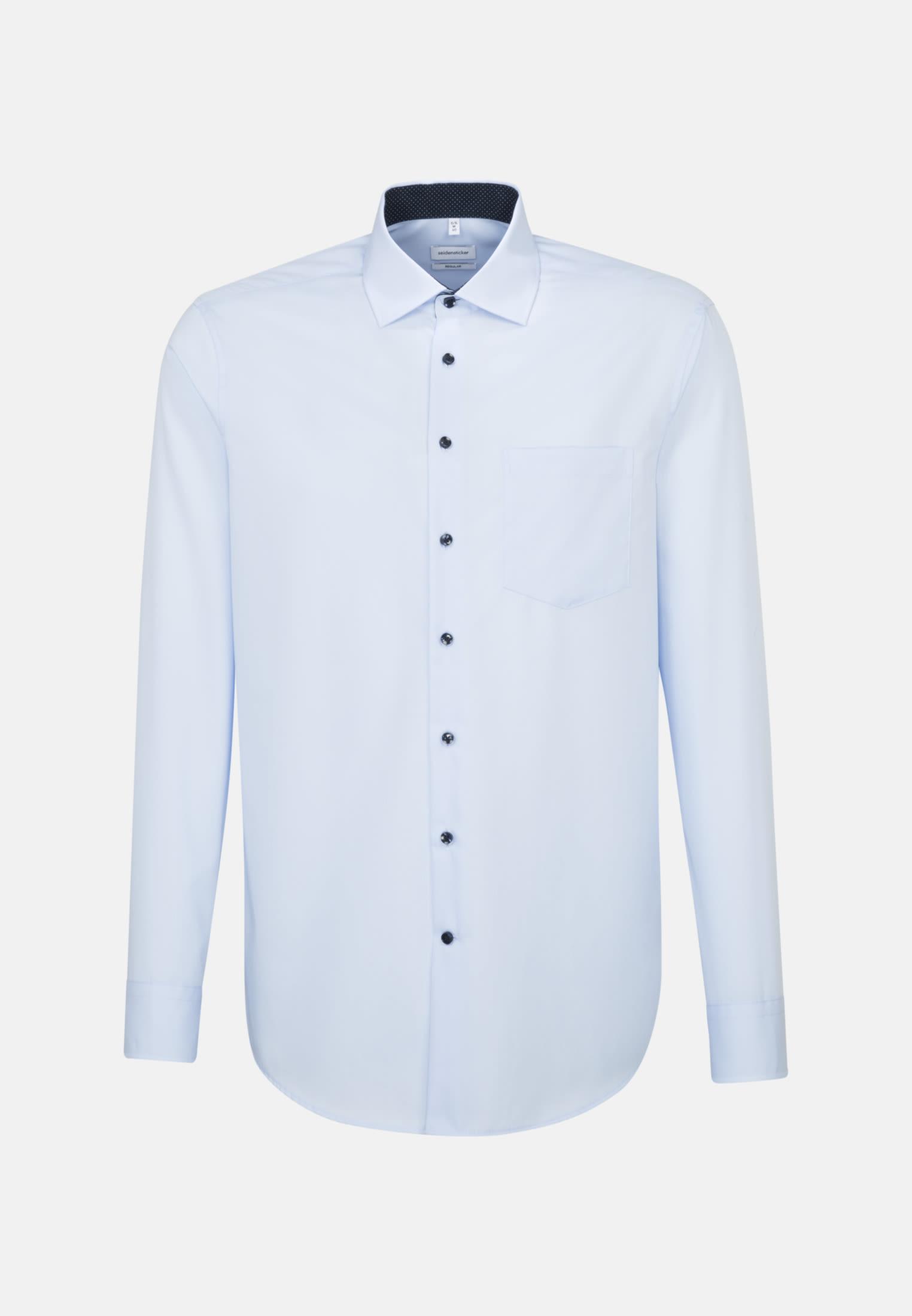 Bügelfreies Popeline Business Hemd in Regular mit Kentkragen und extra langem Arm in Mittelblau    Seidensticker Onlineshop
