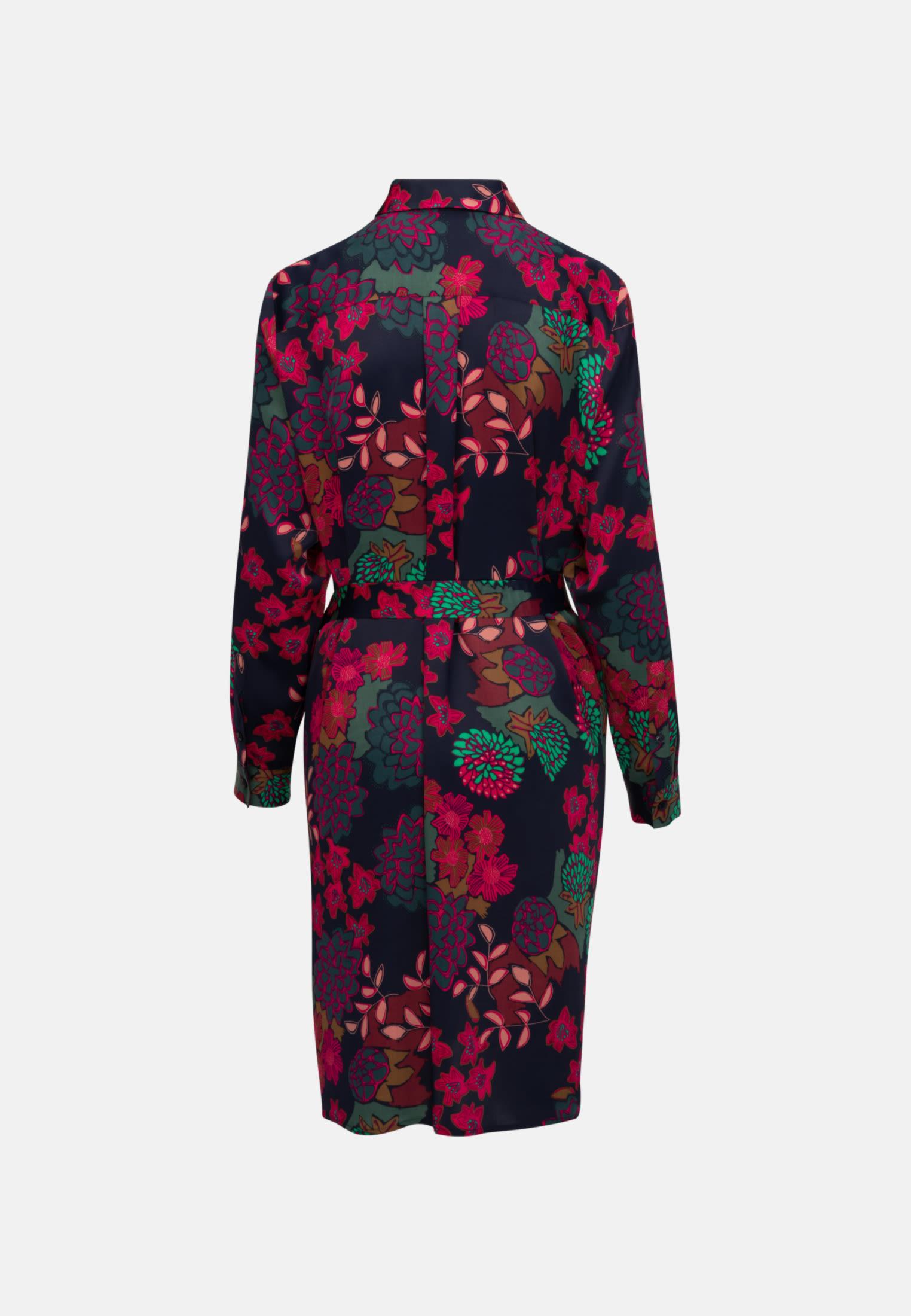 Satin Midi Kleid aus 100% Viskose in Dunkelblau |  Seidensticker Onlineshop
