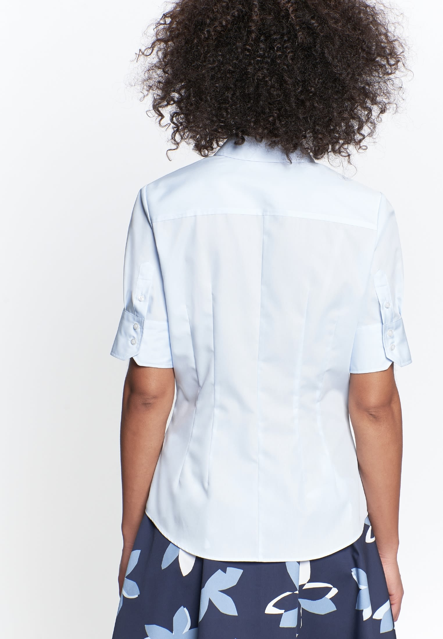 Non-iron Short sleeve Poplin Shirt Blouse made of 100% Cotton in Medium blue |  Seidensticker Onlineshop