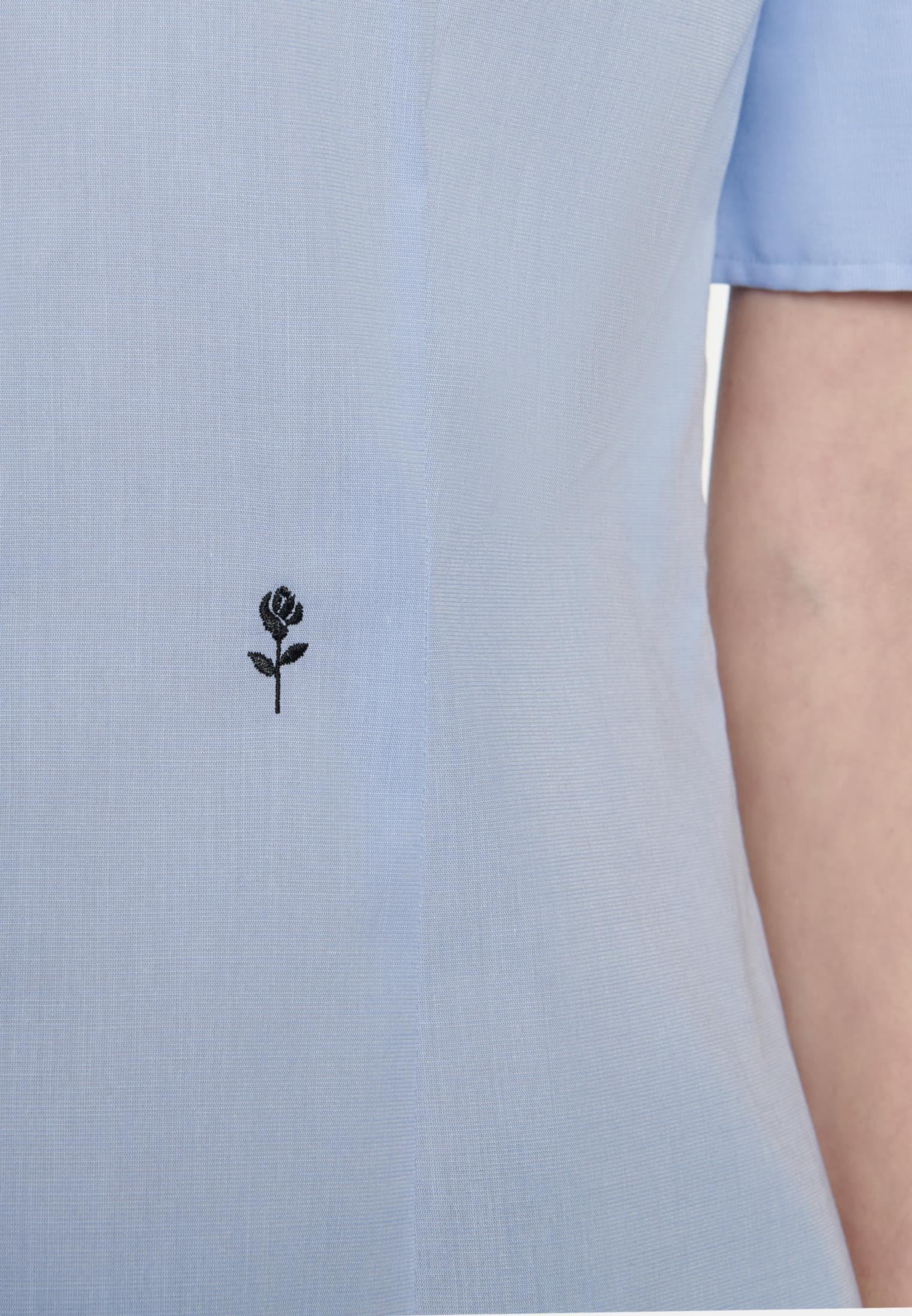 Bügelfreie Kurzarm Popeline Hemdbluse aus 100% Baumwolle in Hellblau |  Seidensticker Onlineshop