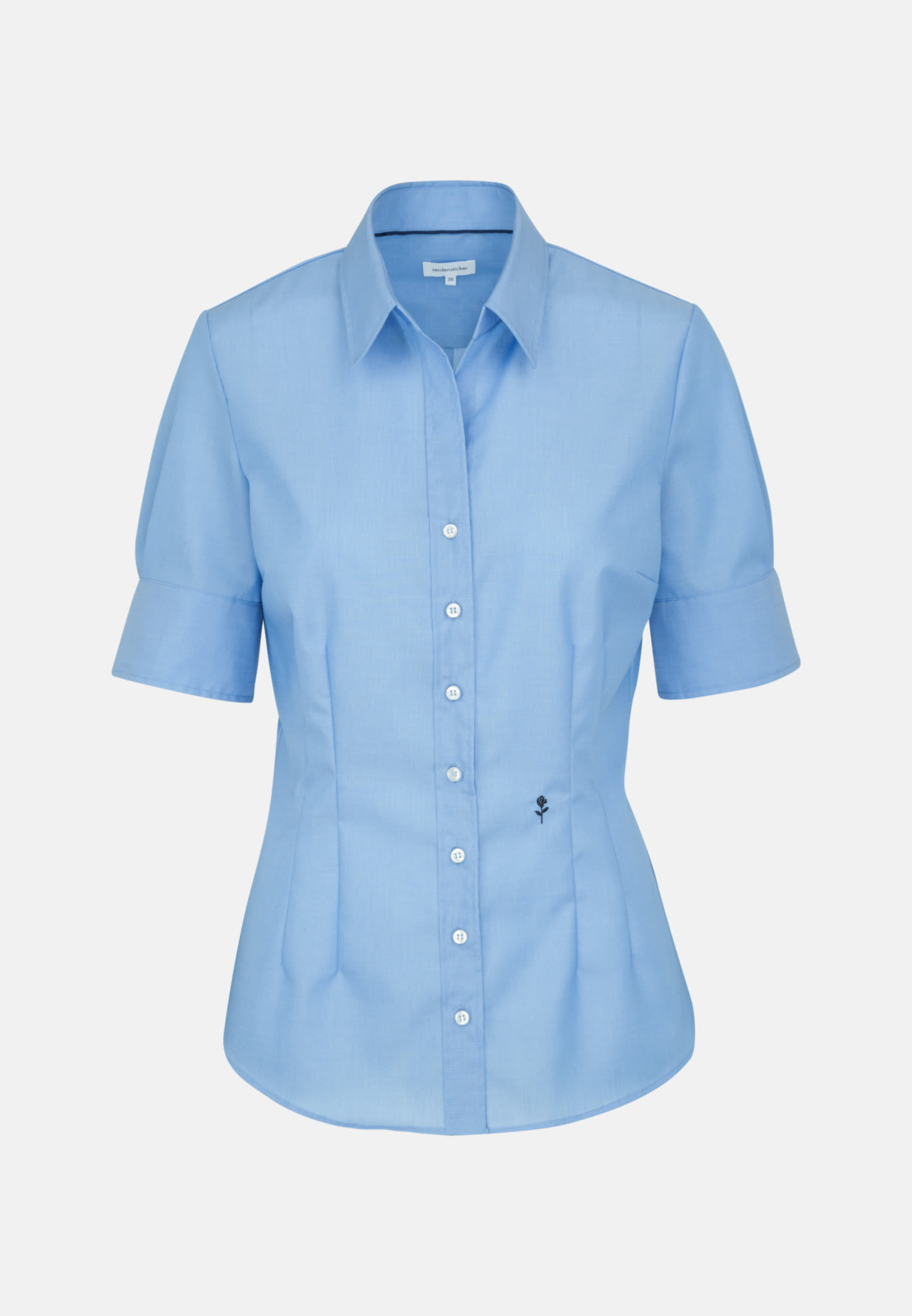 Non-iron Short arm Poplin Shirt Blouse made of 100% Cotton in Medium blue |  Seidensticker Onlineshop