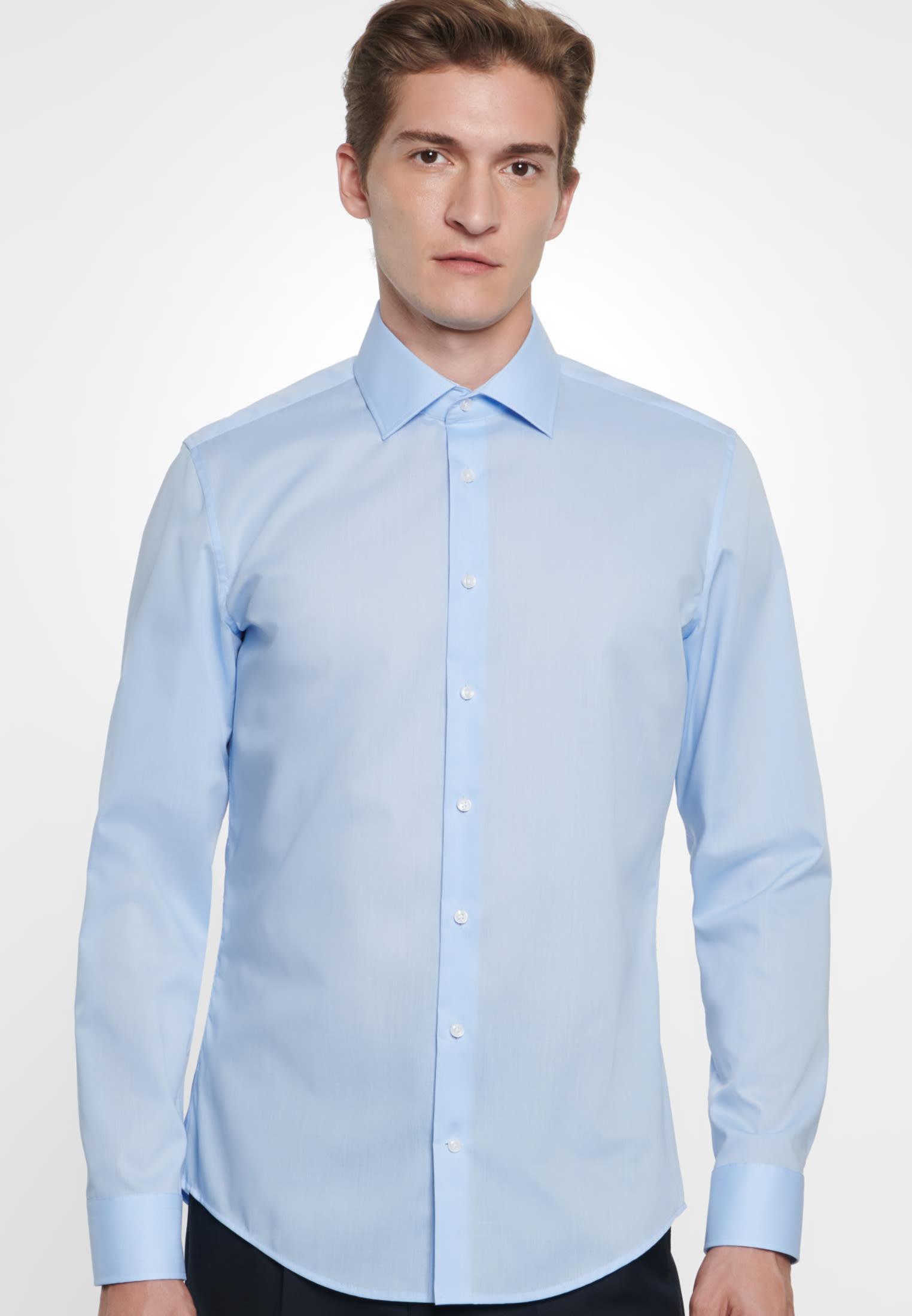 Bügelfreies Fil a fil Business Hemd in X-Slim mit Kentkragen in Hellblau |  Seidensticker Onlineshop