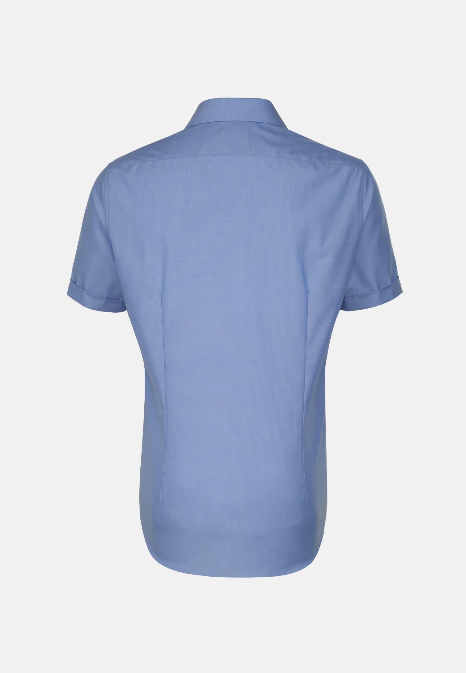 Non-iron Fil a fil Short arm Business Shirt in Tailored with Kent-Collar in mittelblau    Seidensticker Onlineshop