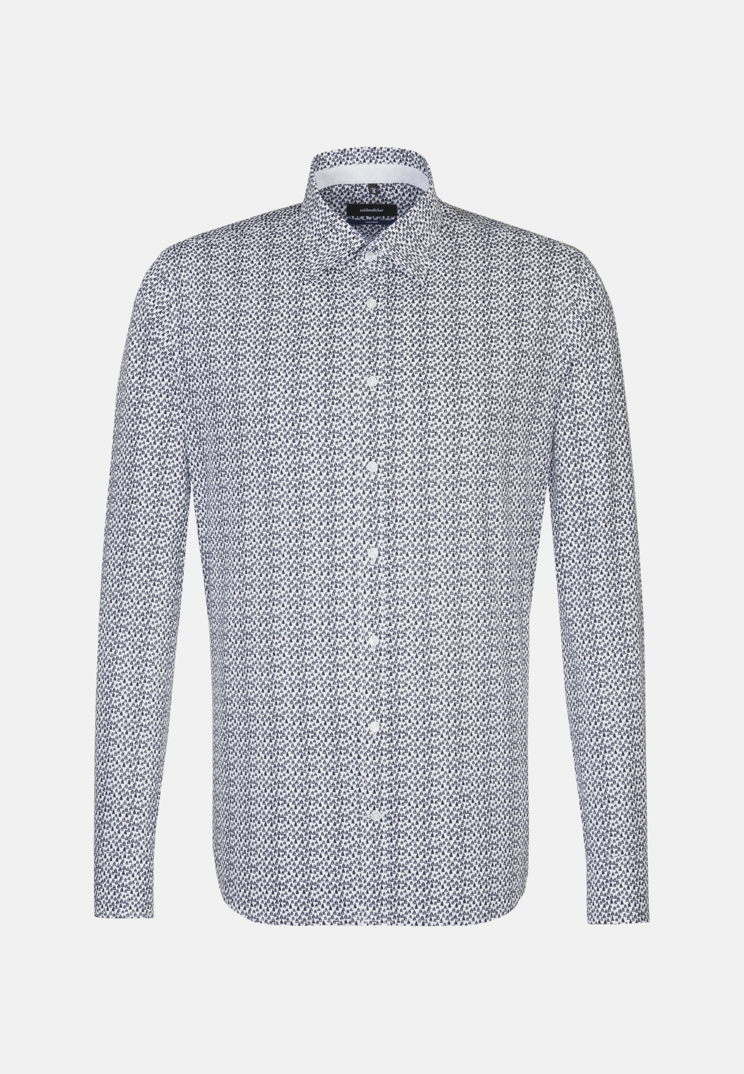 Easy-iron Poplin Business Shirt in Shaped with Covered-Button-Down-Collar in Medium blue |  Seidensticker Onlineshop