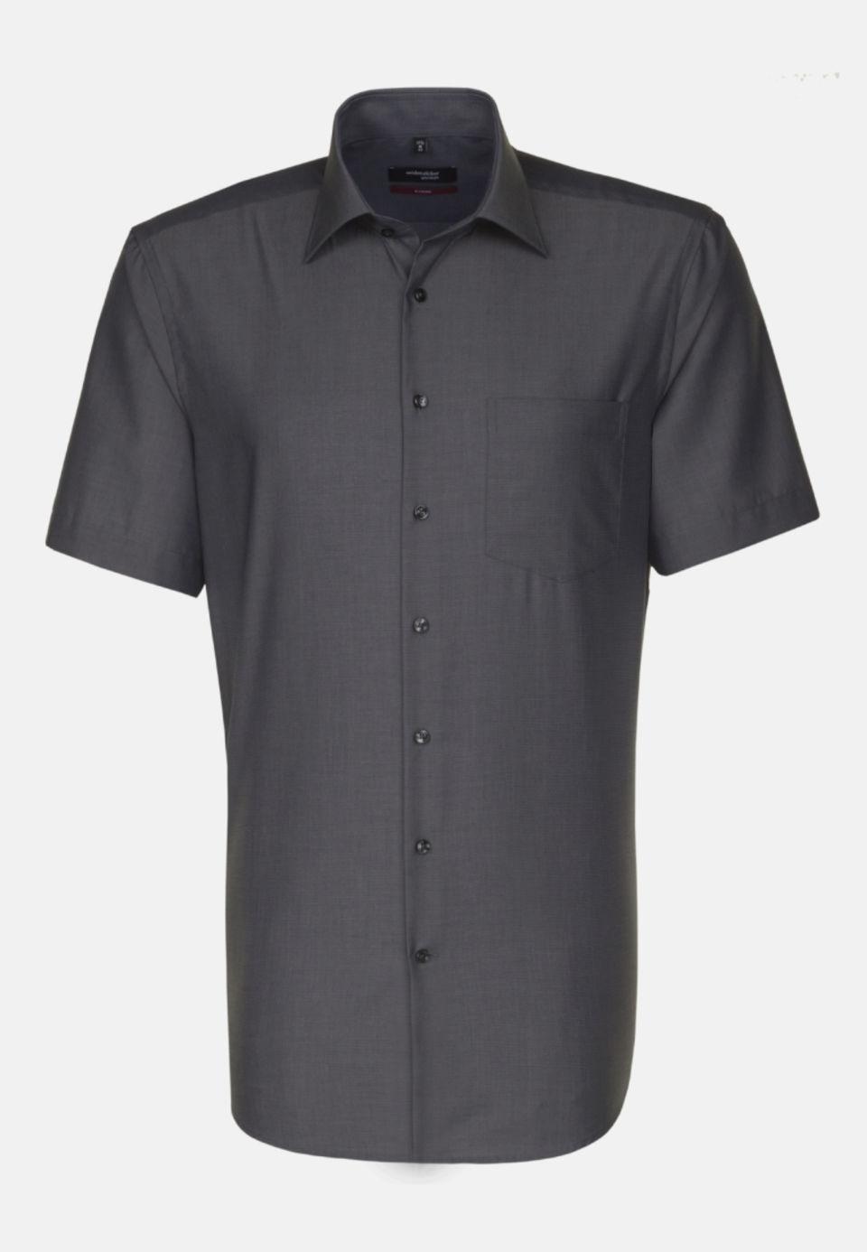 Non-iron Fil a fil Short sleeve Business Shirt in Regular with Kent-Collar in Grey |  Seidensticker Onlineshop