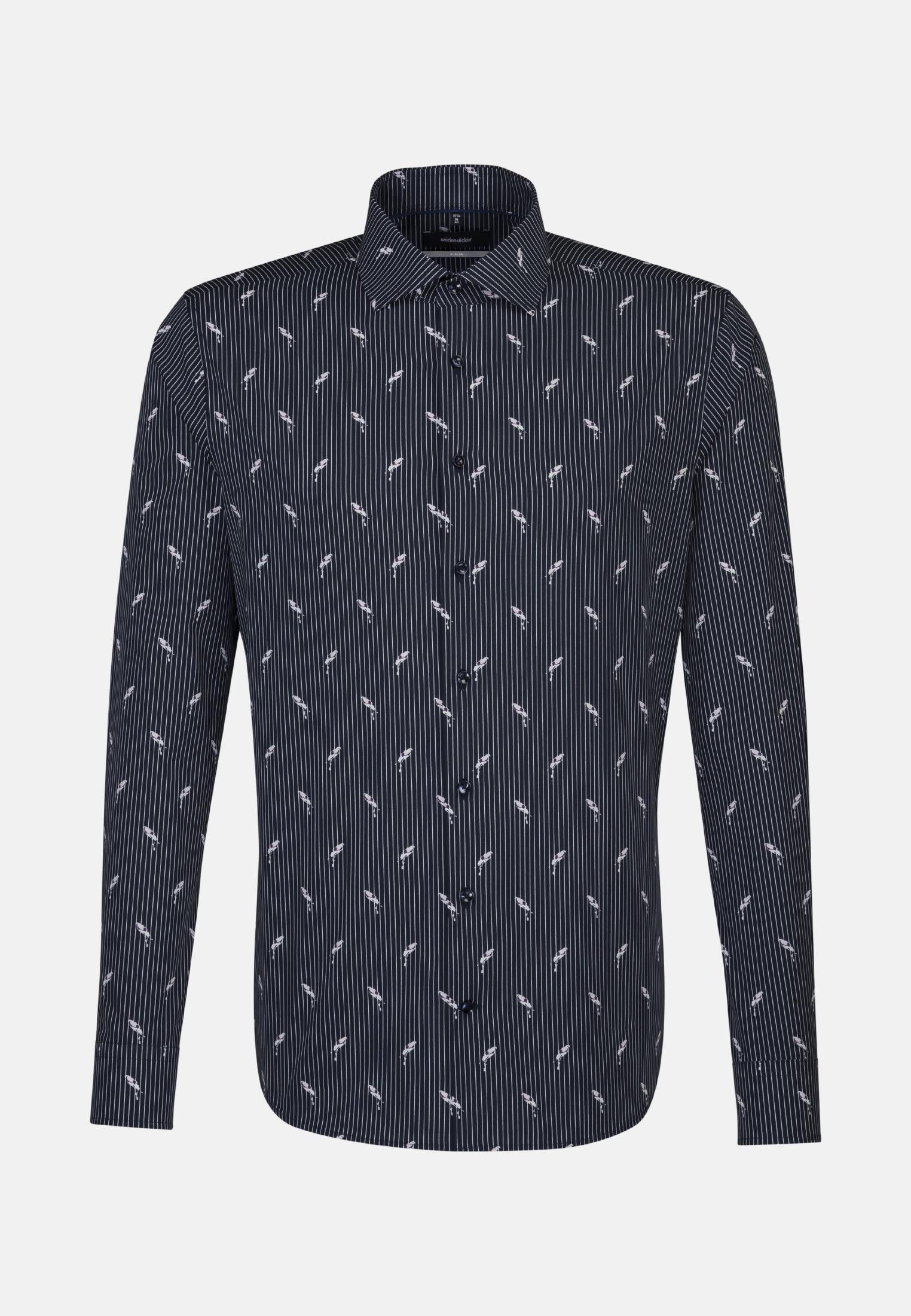 Easy-iron Poplin Business Shirt in X-Slim with Kent-Collar in Dark blue    Seidensticker Onlineshop