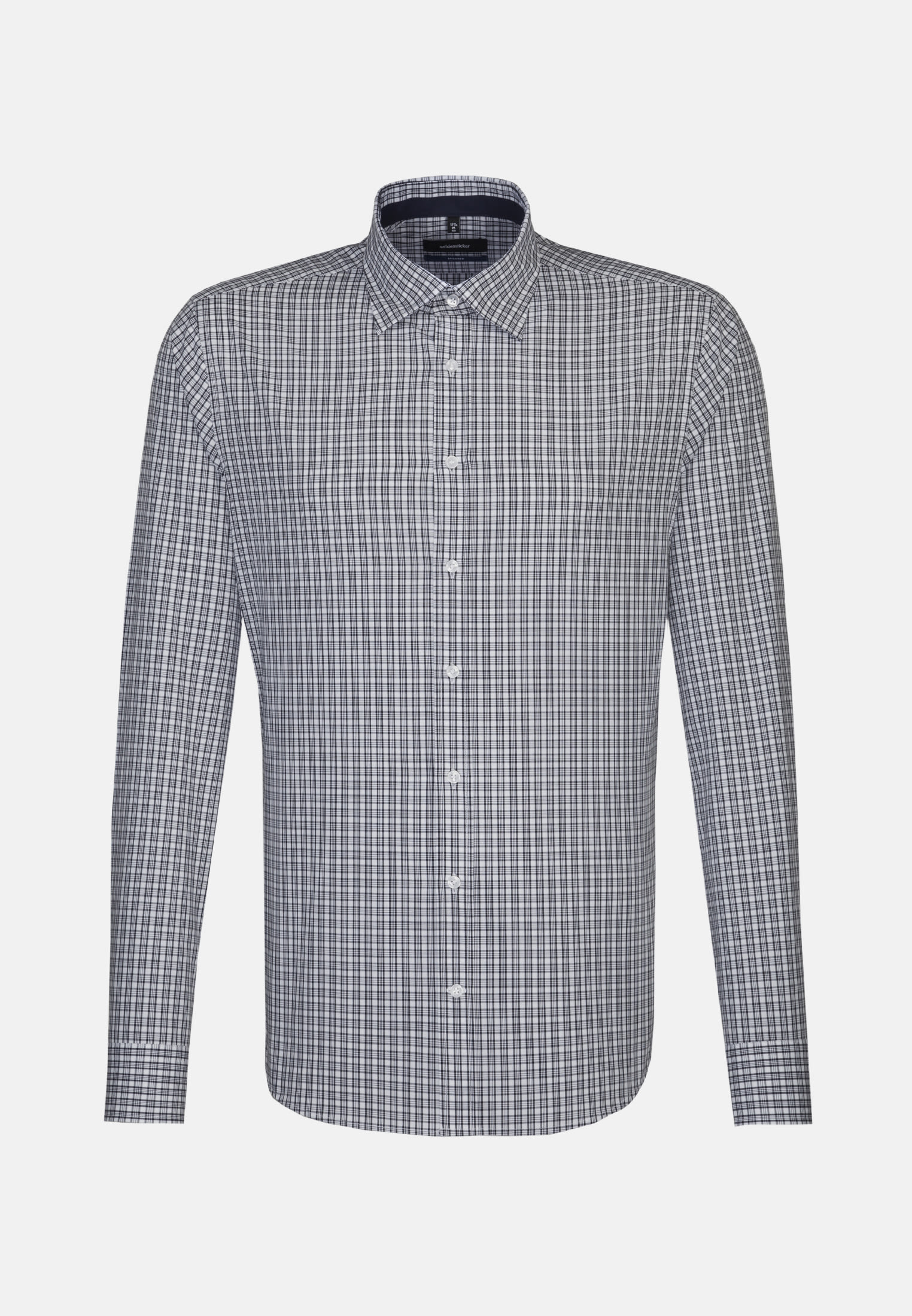 Easy-iron Poplin Business Shirt in Shaped with Covered-Button-Down-Collar in Light blue |  Seidensticker Onlineshop