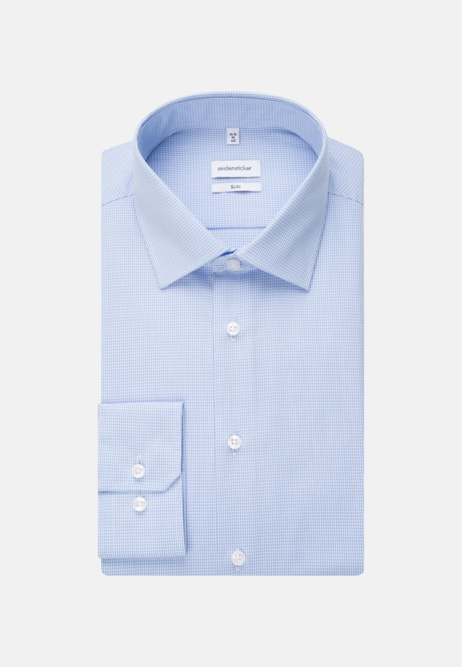 Bügelfreies Popeline Business Hemd in Slim mit Kentkragen in Hellblau |  Seidensticker Onlineshop
