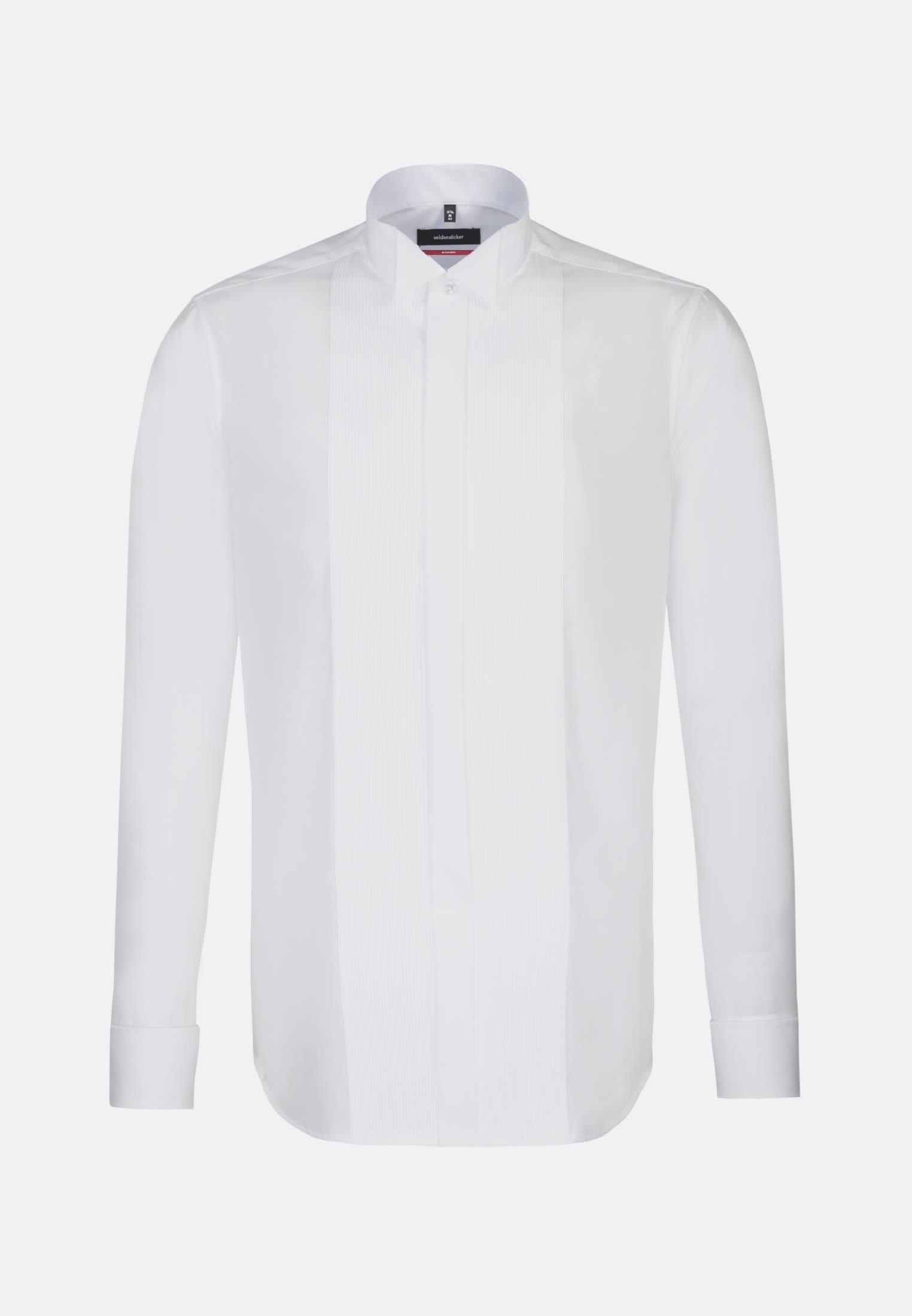 Bügelfreies Popeline Smokinghemd in Regular mit Kläppchenkragen in Weiß |  Seidensticker Onlineshop