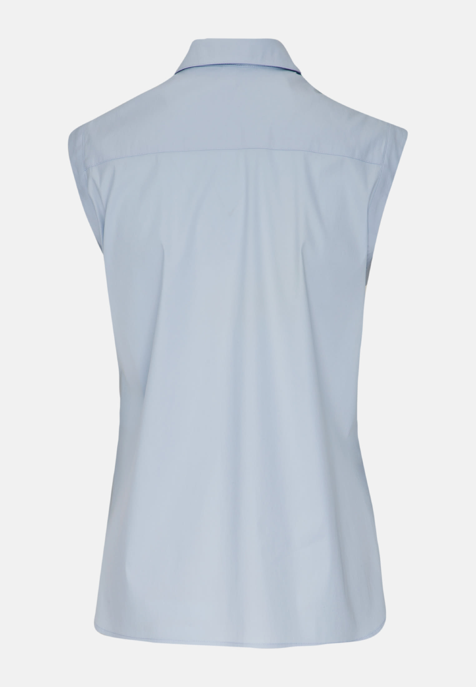 Sleeveless Poplin Shirt Blouse made of 81% Cotton 16% Polyamid/Nylon 3% Elastane in Hellblau |  Seidensticker Onlineshop