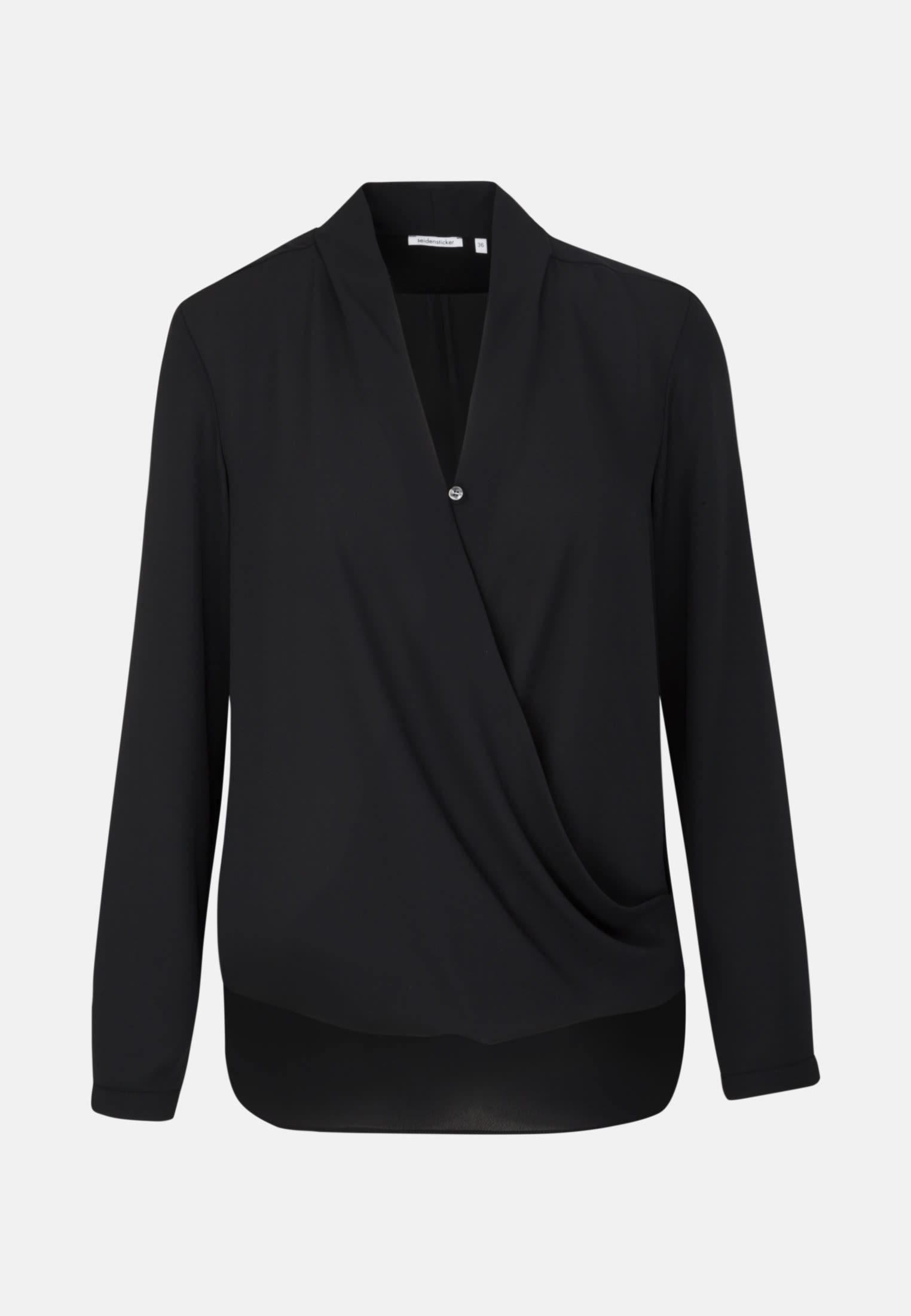Crepe Wraparound Blouse made of 100% Polyester in Black |  Seidensticker Onlineshop