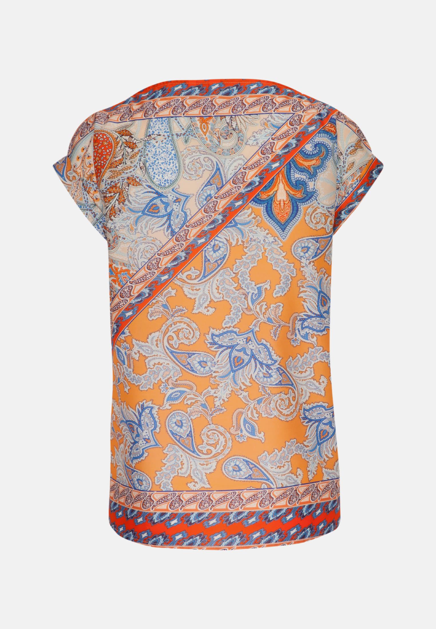 Sleeveless Voile Shirt Blouse made of 100% Cotton in orange-weiß |  Seidensticker Onlineshop