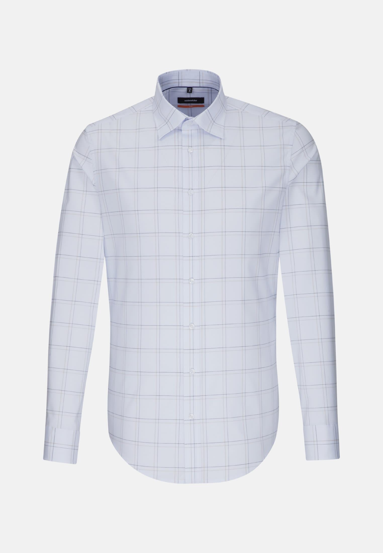 Non-iron Poplin Business Shirt in Slim with Covered-Button-Down-Collar in Light blue    Seidensticker Onlineshop
