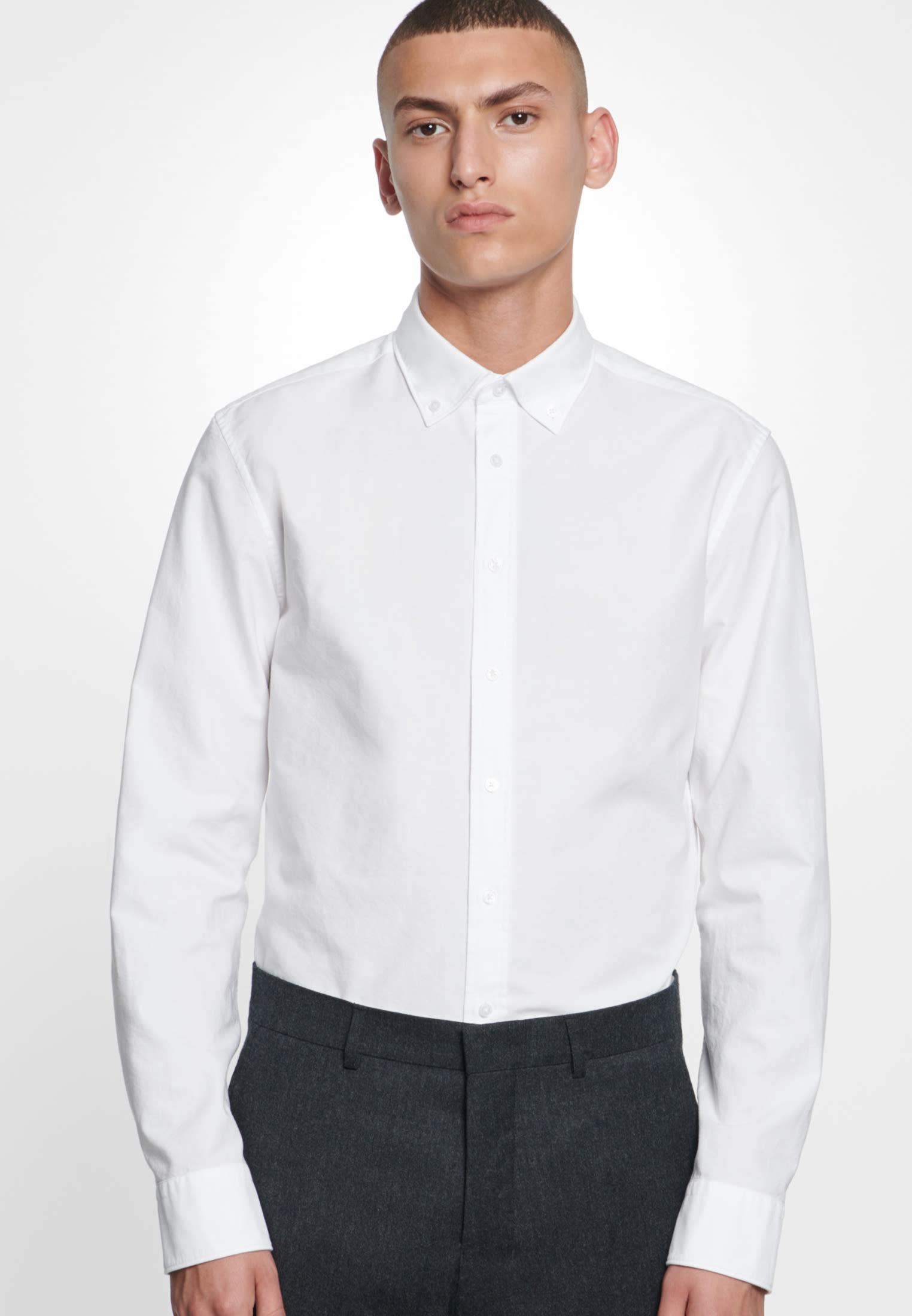 Bügelleichtes Oxford Business Hemd in Slim mit Button-Down-Kragen in Weiß    Seidensticker Onlineshop