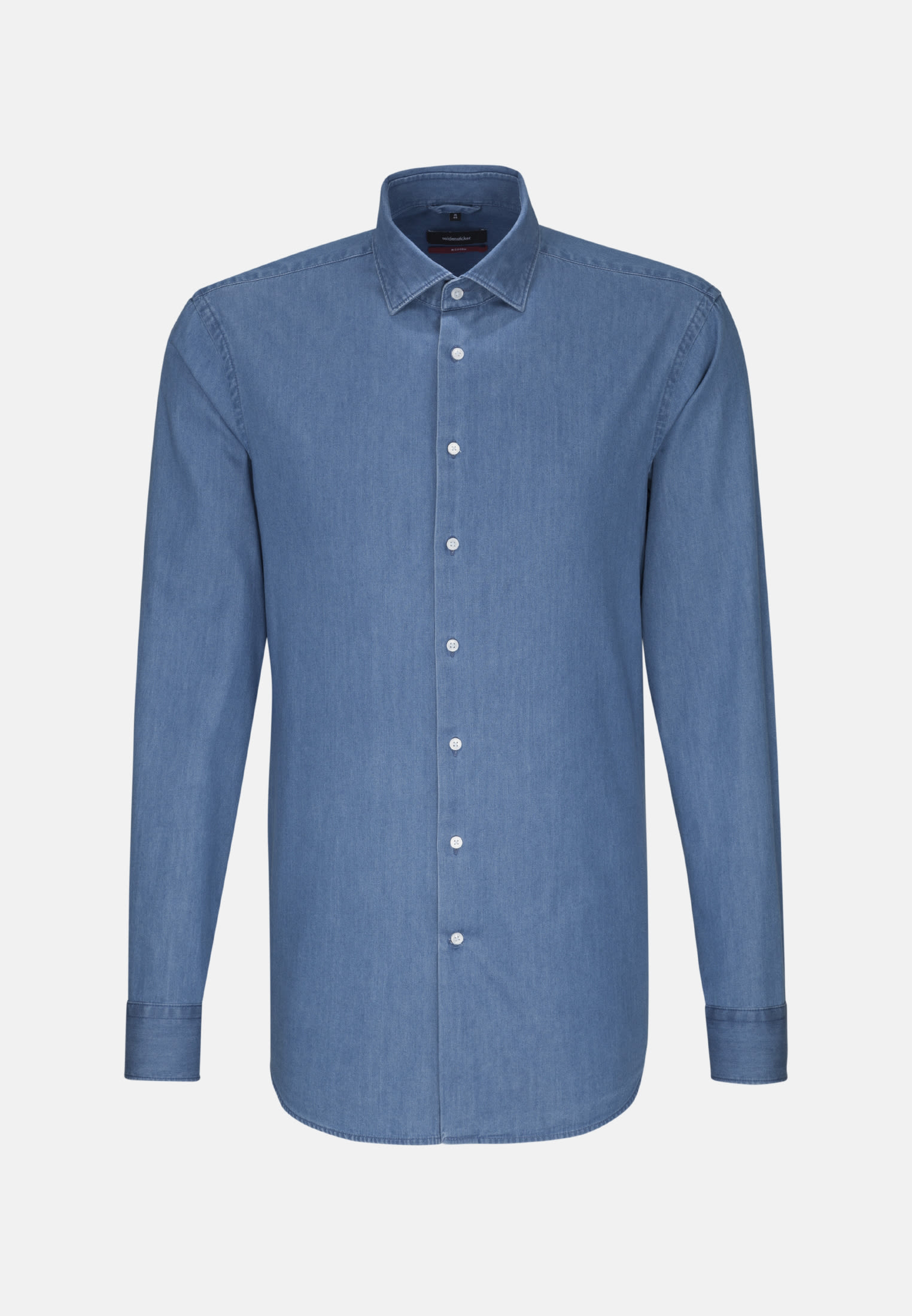 Easy-iron Denim Business Shirt in Modern with Kent-Collar in Medium blue |  Seidensticker Onlineshop