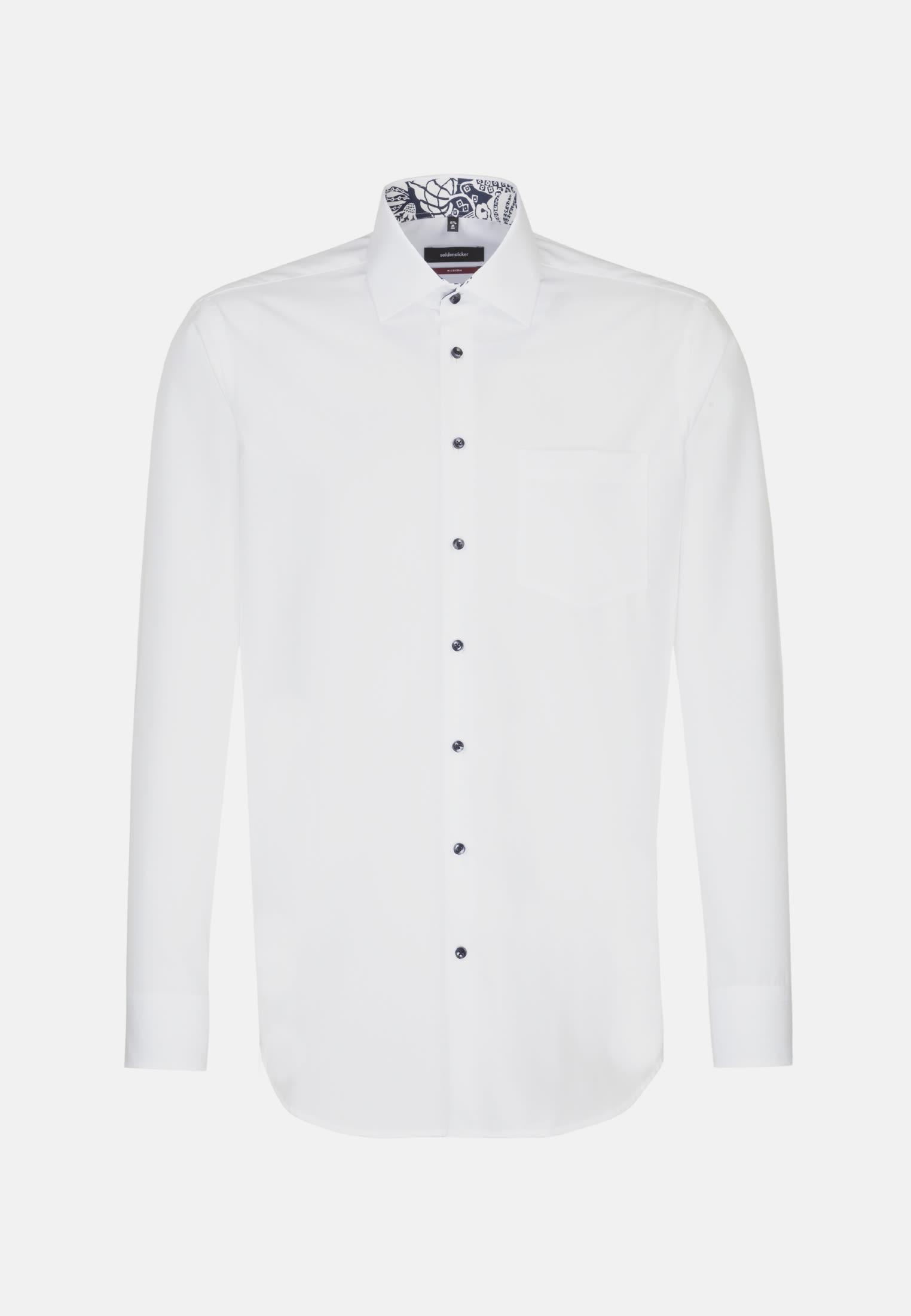 Non-iron Poplin Business Shirt in Modern with Kent-Collar in White |  Seidensticker Onlineshop
