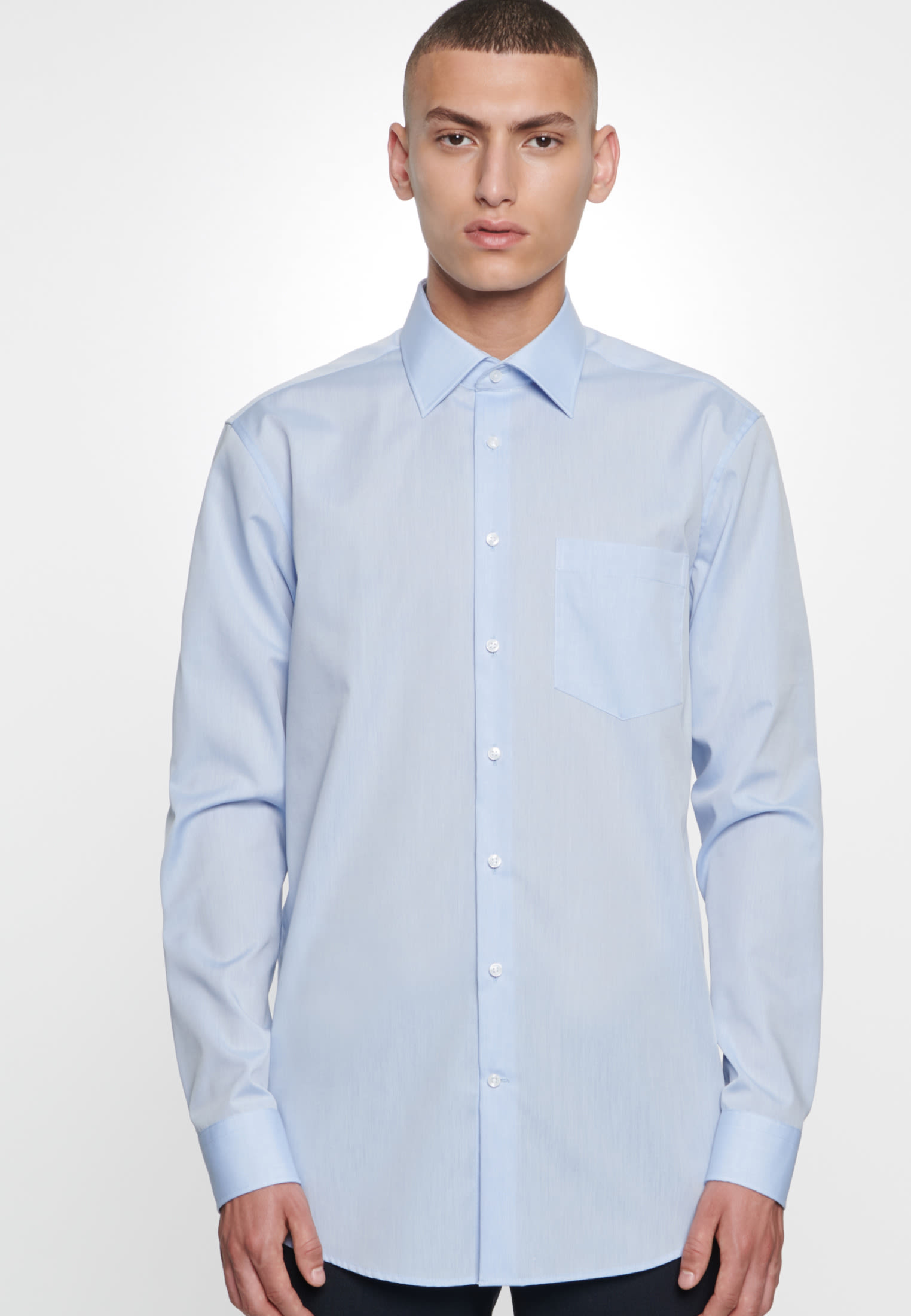 Non-iron Chambray Business Shirt in Comfort with Kent-Collar in hellblau |  Seidensticker Onlineshop