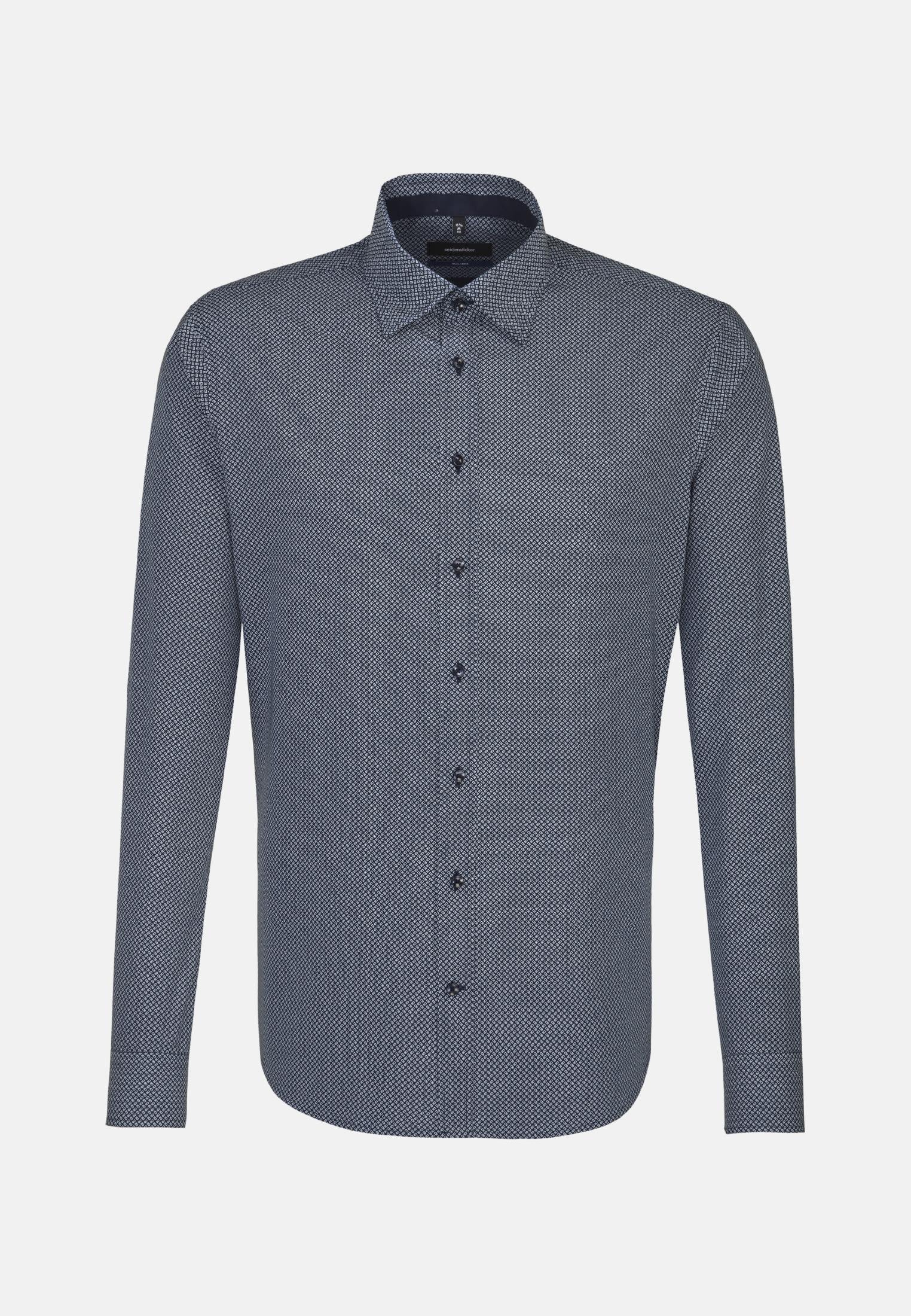 Bügelleichtes Popeline Business Hemd in Shaped mit Covered-Button-Down-Kragen in Mittelblau |  Seidensticker Onlineshop